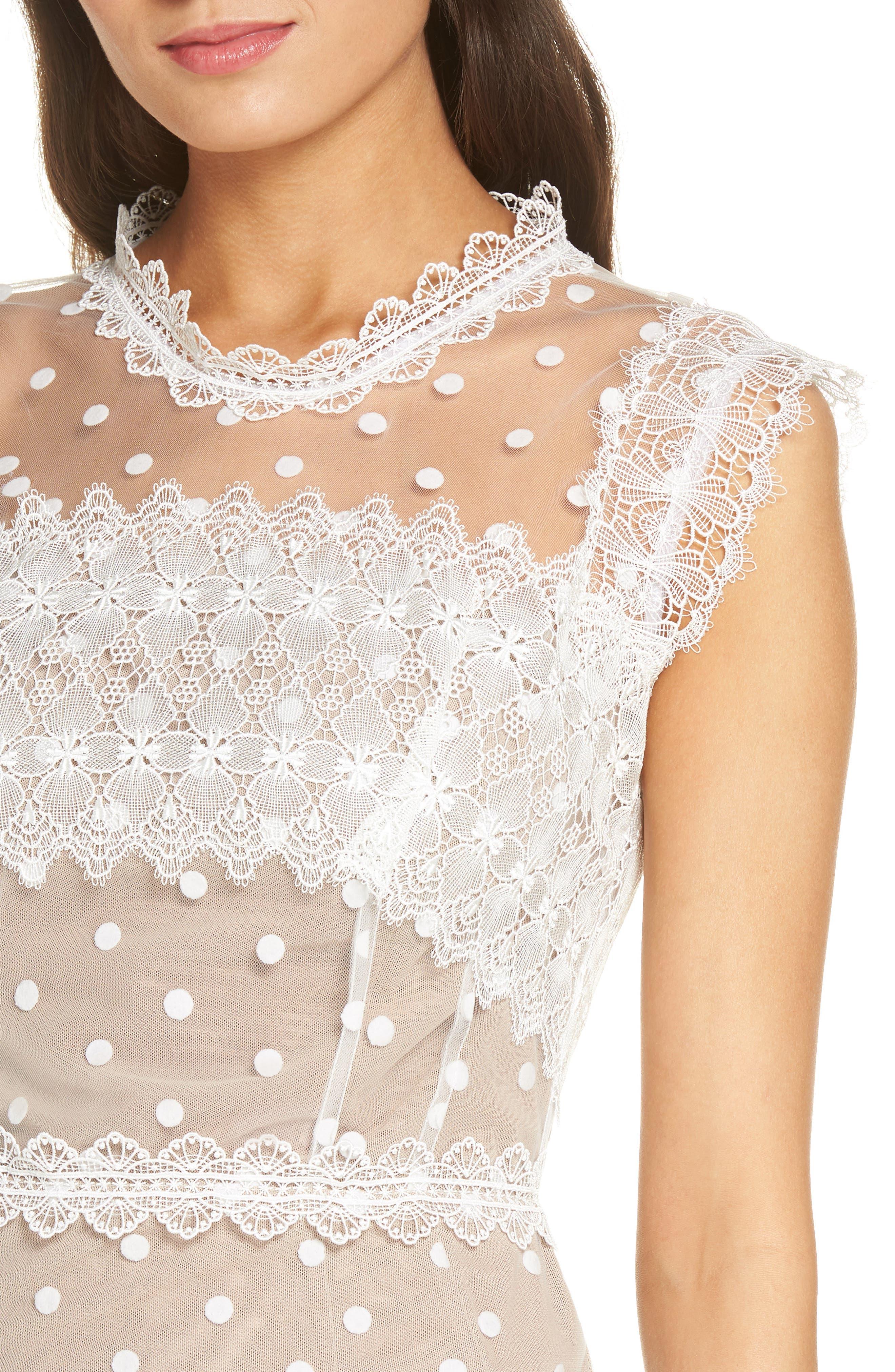 Majiorca Dot Lace Cocktail Dress,                             Alternate thumbnail 4, color,                             WHITE
