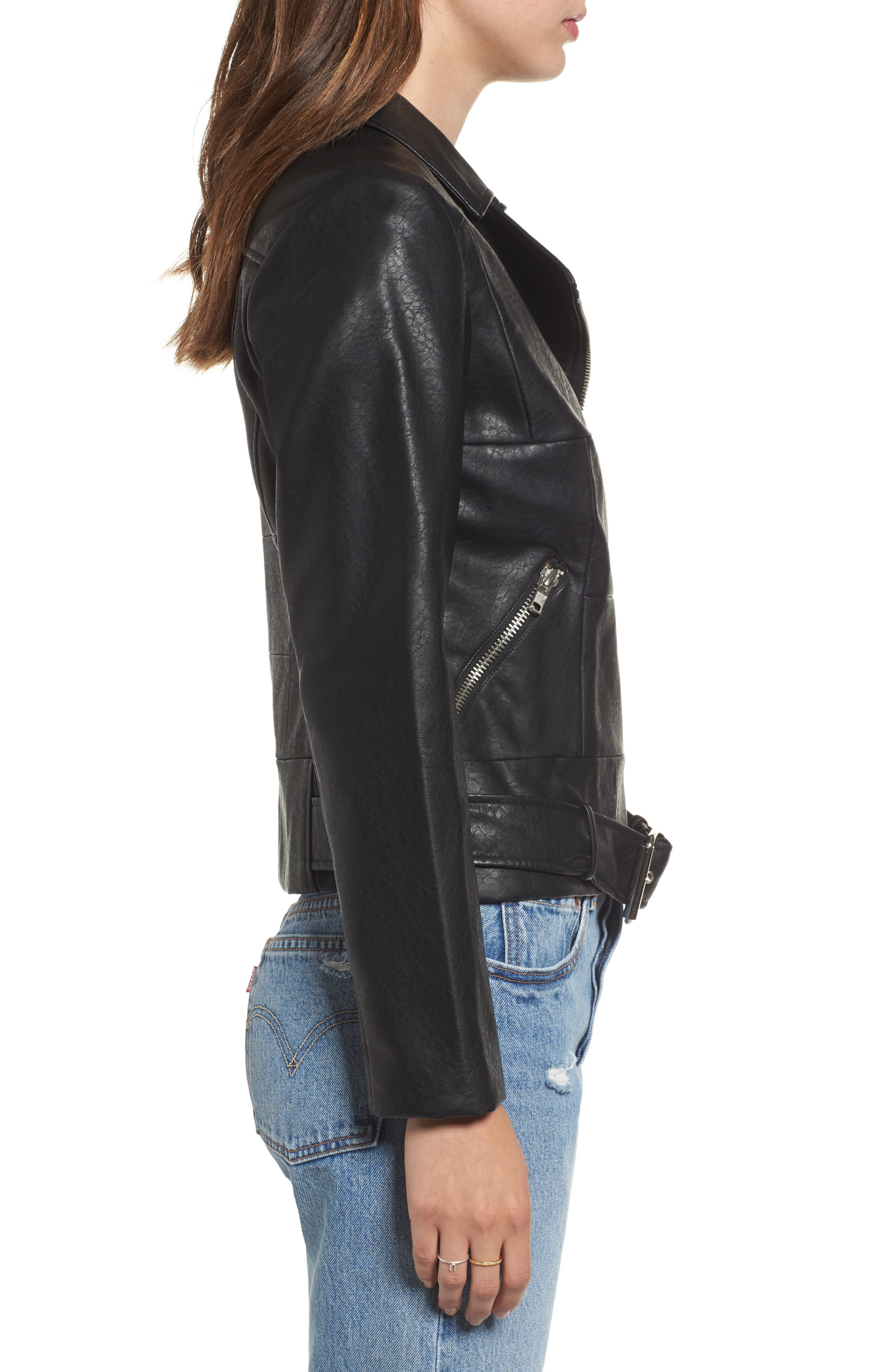 Maria Washed Faux Leather Patchwork Jacket,                             Alternate thumbnail 3, color,                             001