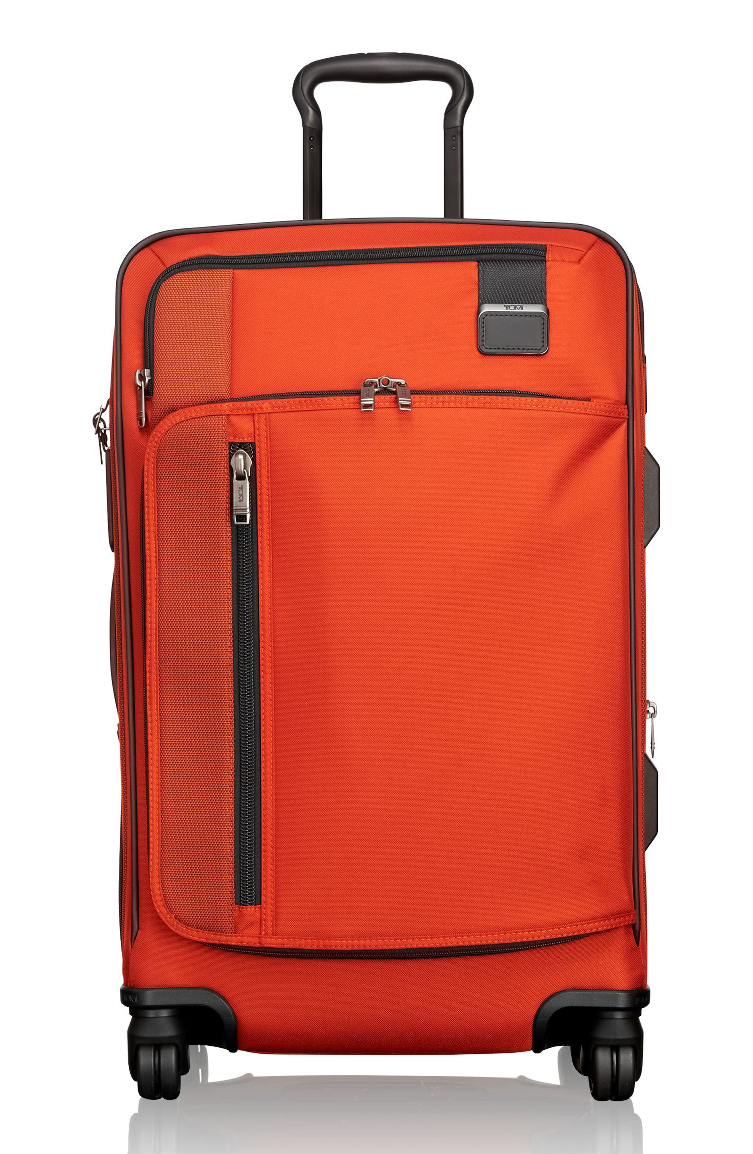 Merge - Short Trip Expandable Rolling Suitcase,                         Main,                         color, SUNSET RED