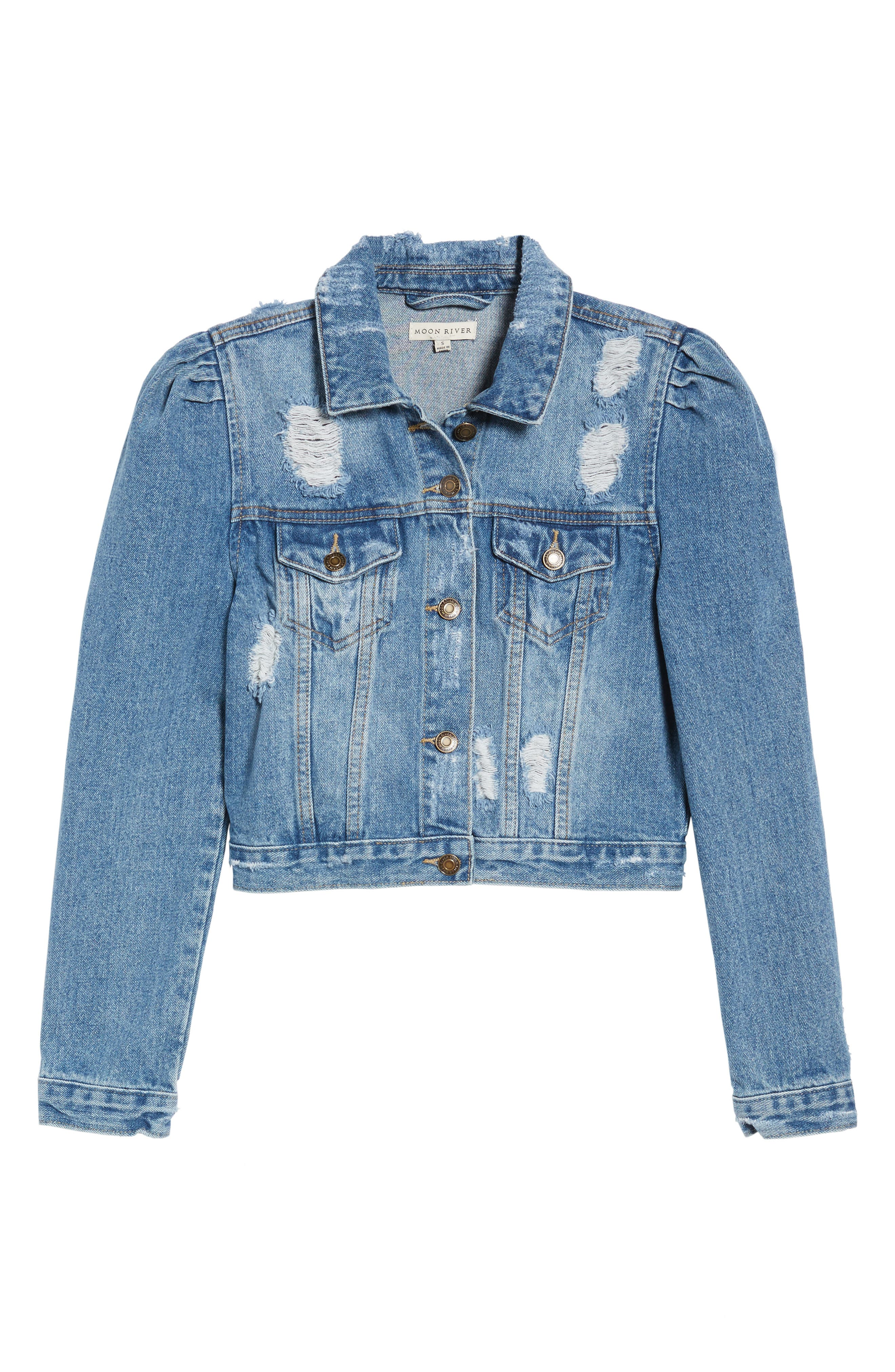 Distressed Denim Jacket,                             Alternate thumbnail 5, color,                             425
