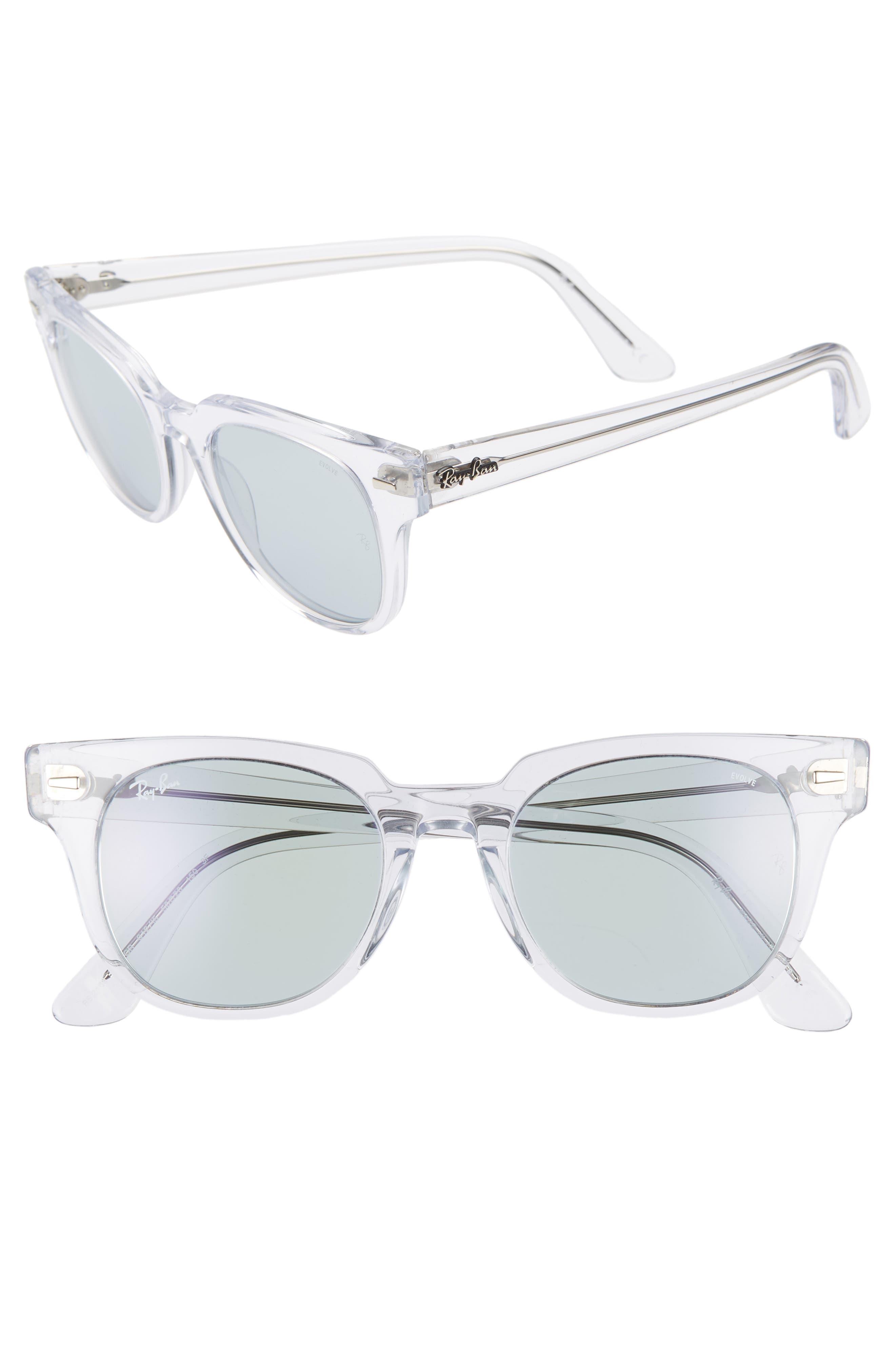 Meteor 50mm Polarized Wayfarer Sunglasses,                             Main thumbnail 1, color,                             CRYSTAL/ BLUE SOLID