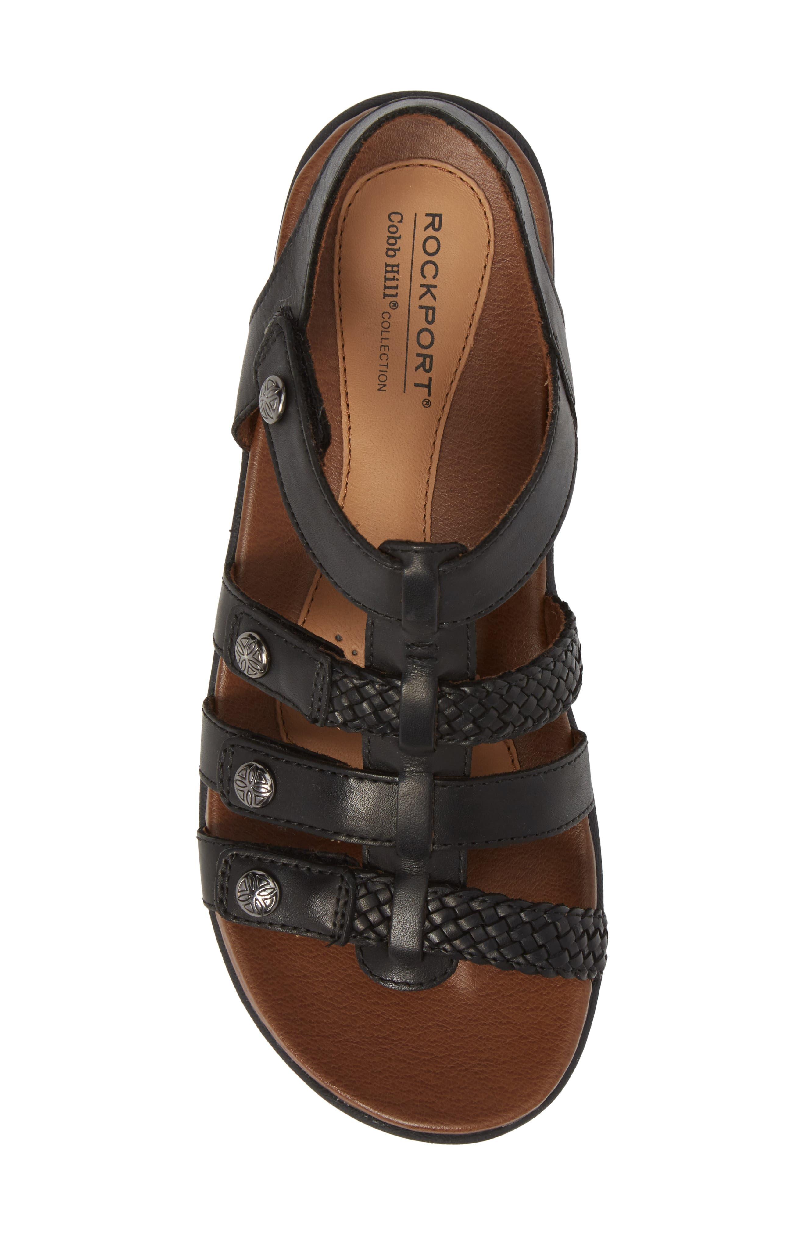 Rubey T-Strap Sandal,                             Alternate thumbnail 5, color,                             BLACK LEATHER