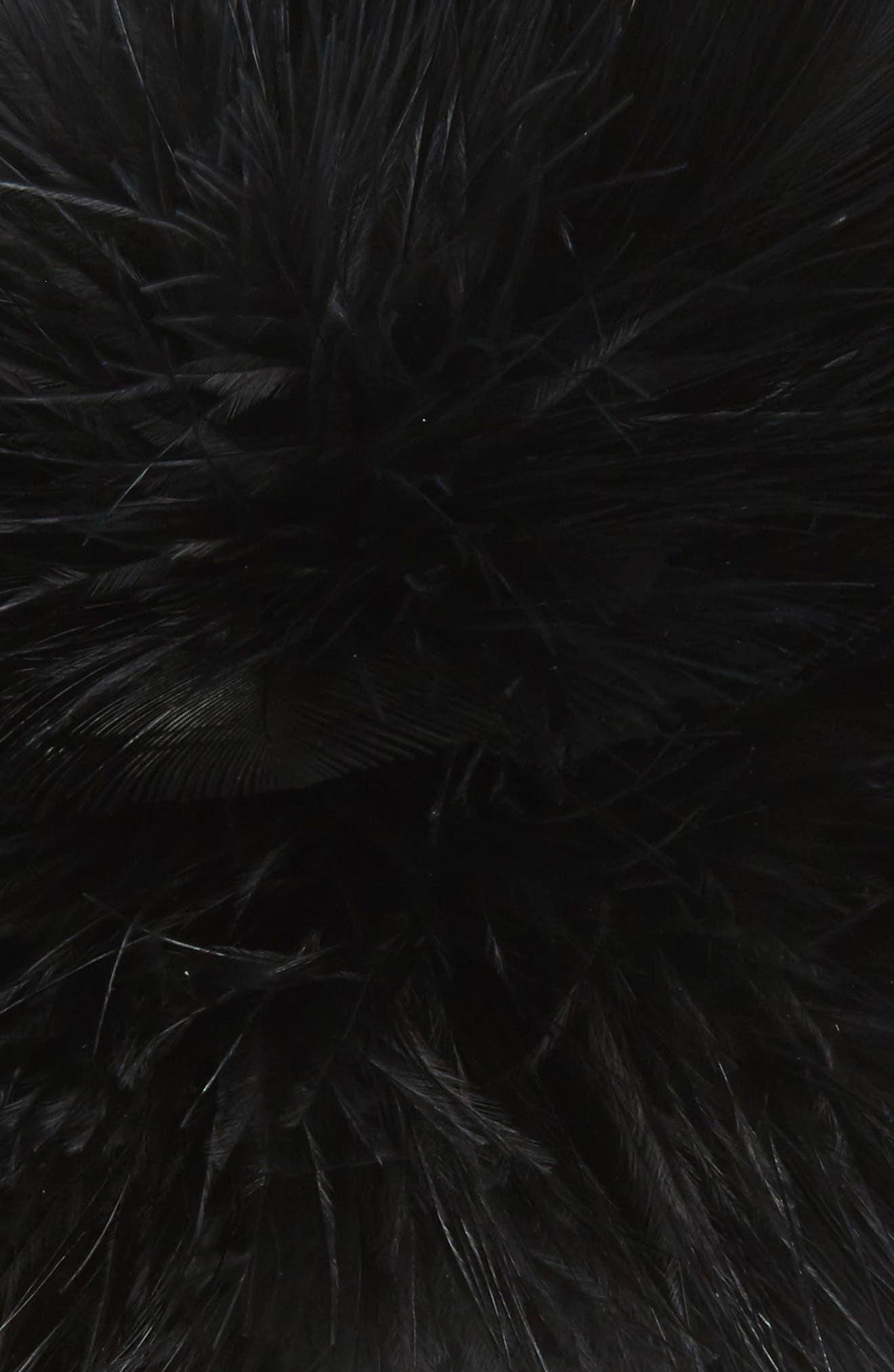 Feather Pompom Ponytail Holder,                             Alternate thumbnail 3, color,                             001