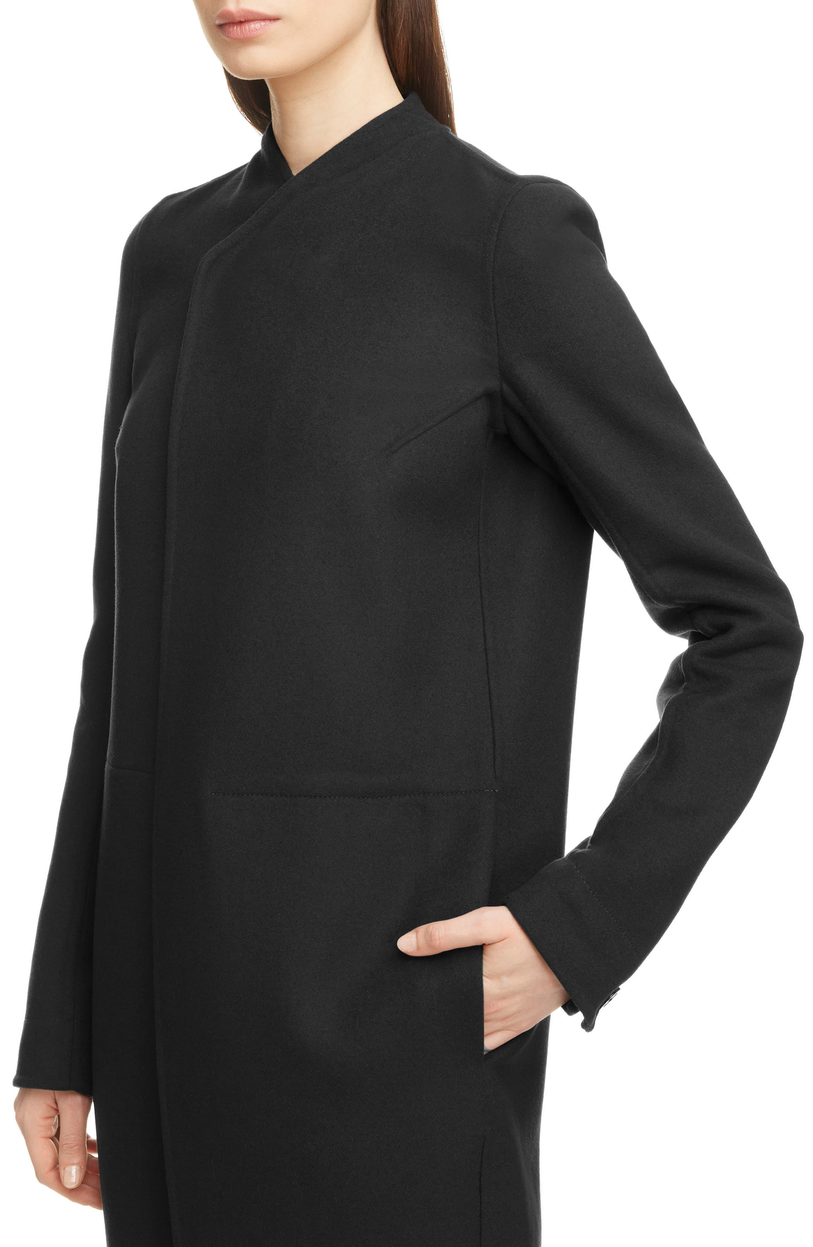 Double Face Wool Blend Coat,                             Alternate thumbnail 4, color,                             BLACK