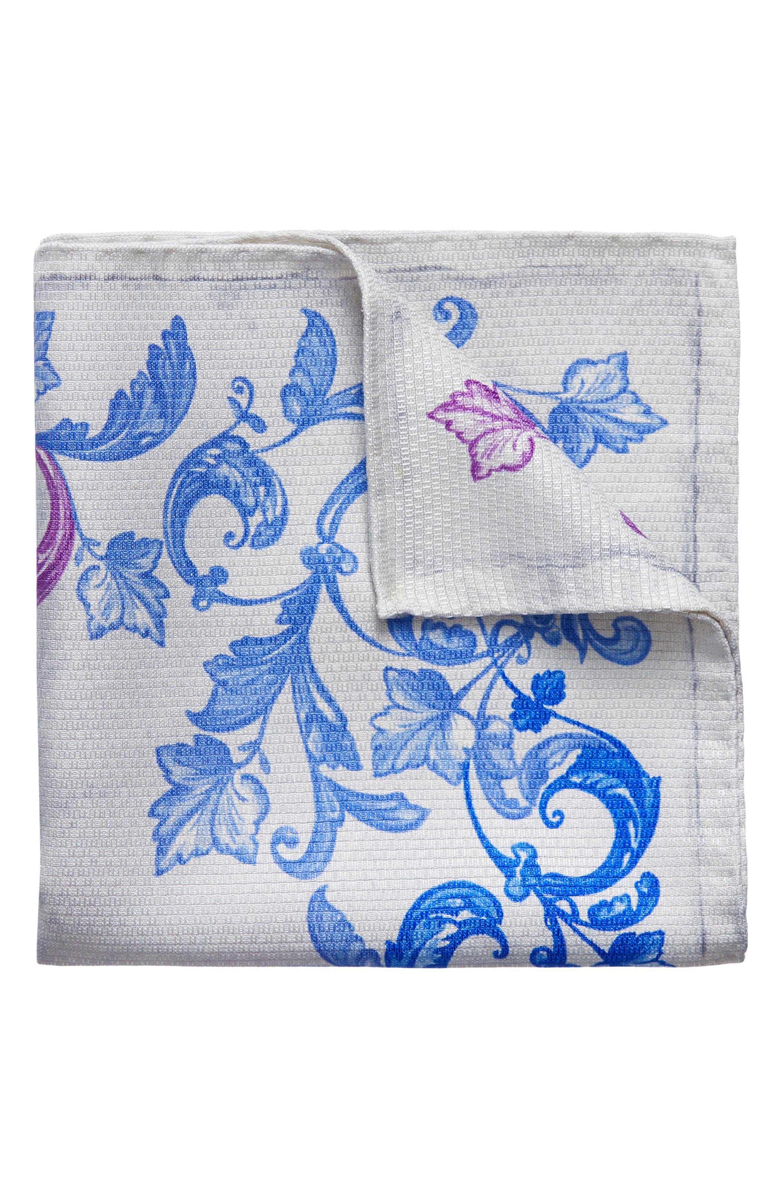 Koi Silk Pocket Square,                             Main thumbnail 1, color,                             PURPLE