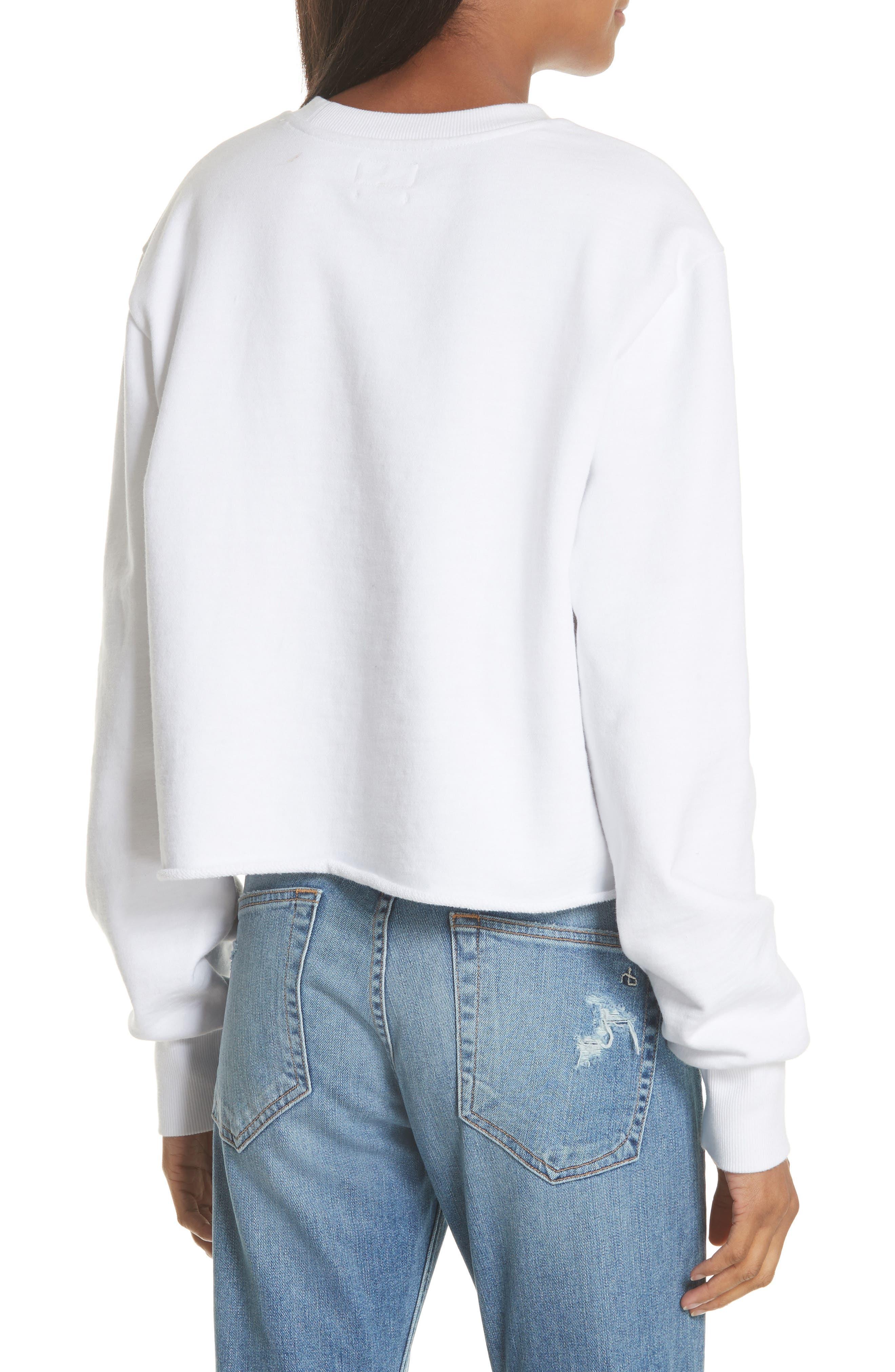 JEAN Glitch Crop Sweatshirt,                             Alternate thumbnail 2, color,                             100