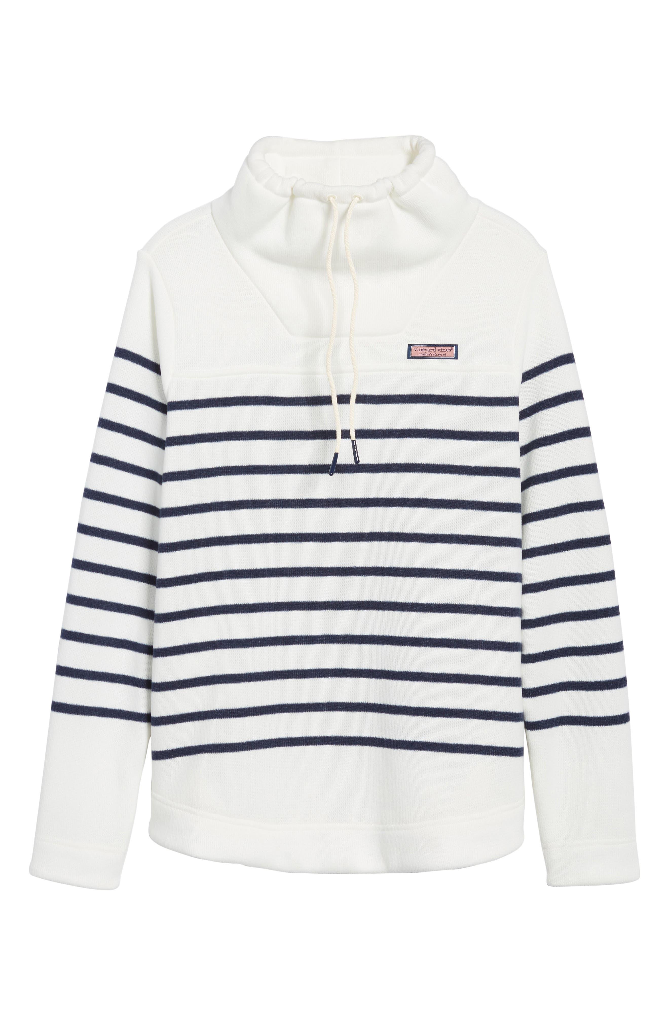 Funnel Neck Stripe Sweater,                             Alternate thumbnail 6, color,                             111