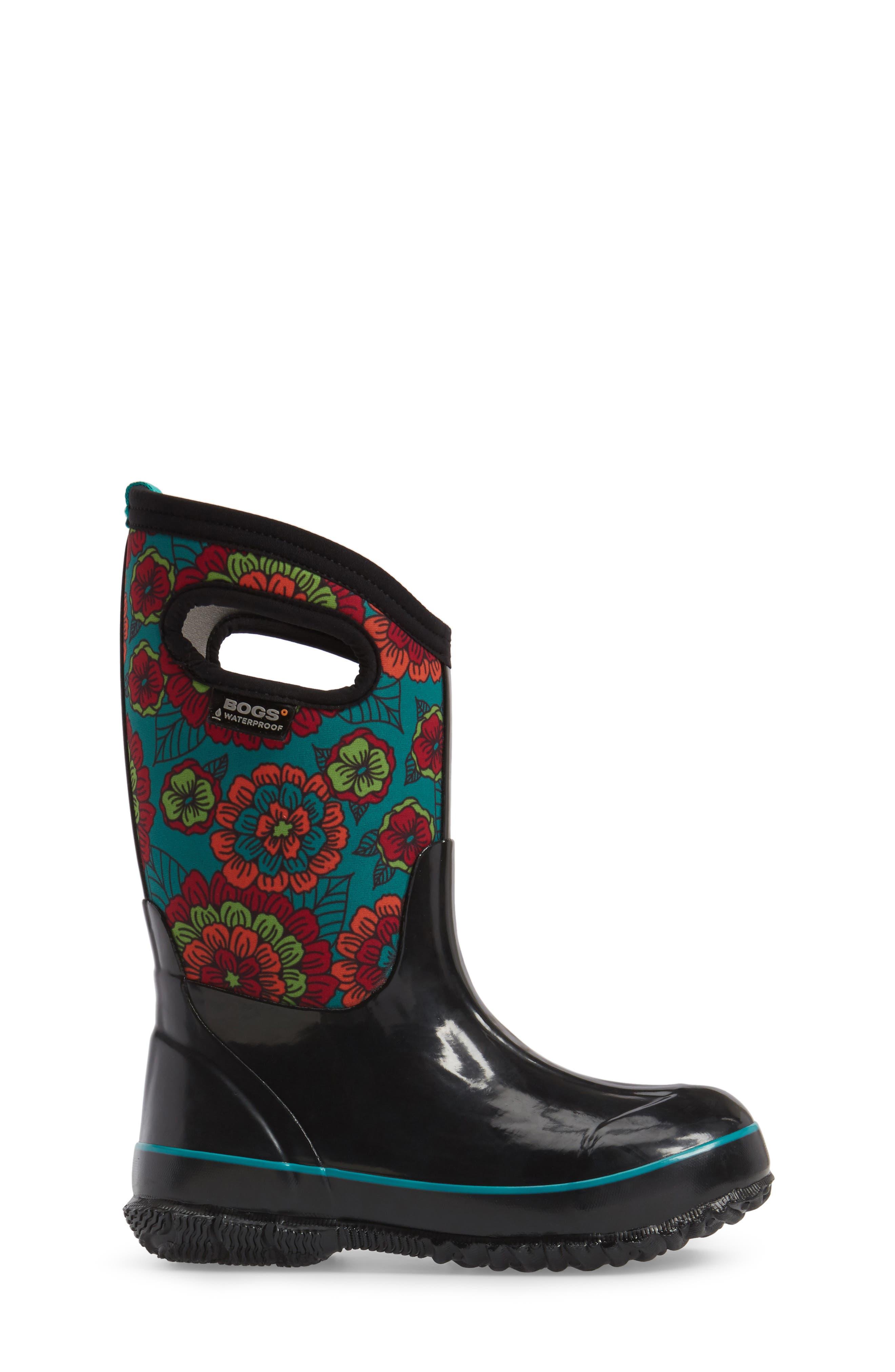 Classic Pansies Insulated Waterproof Rain Boot,                             Alternate thumbnail 3, color,                             BLACK MULTI