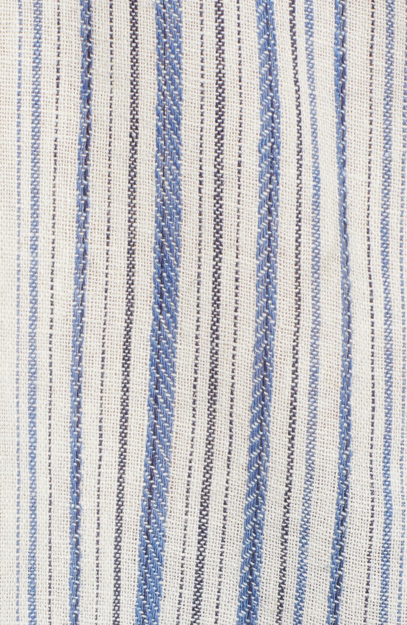 Off the Shoulder Stripe Ruffle Linen Blend Top,                             Alternate thumbnail 6, color,                             420