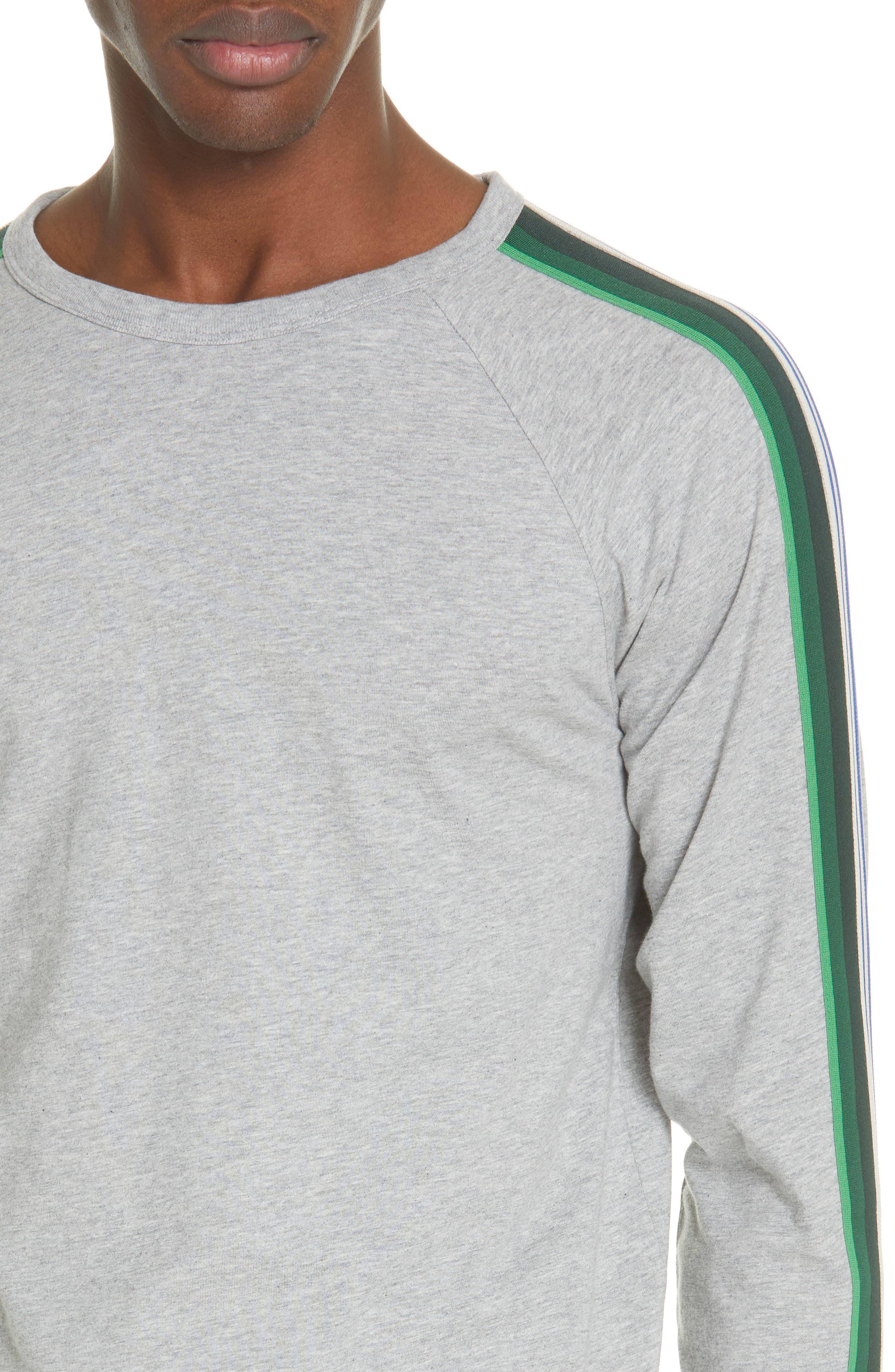 Hoyt Stripe Sleeve Sweatshirt,                             Alternate thumbnail 4, color,                             GREY MELANGE