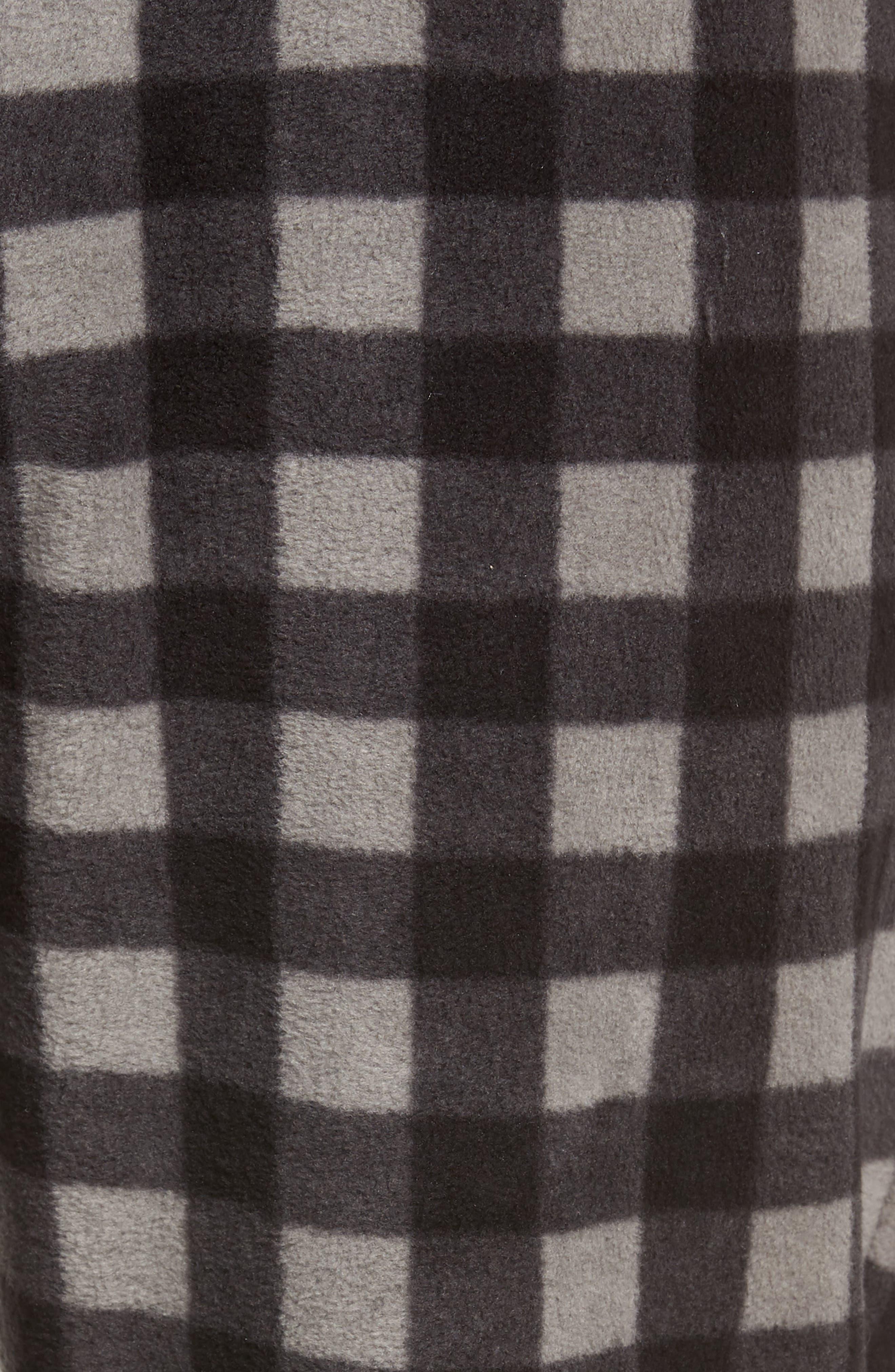 Print Microfleece Pajama Pants,                             Alternate thumbnail 5, color,                             GREY DECEMBER- BLACK BUFFALO