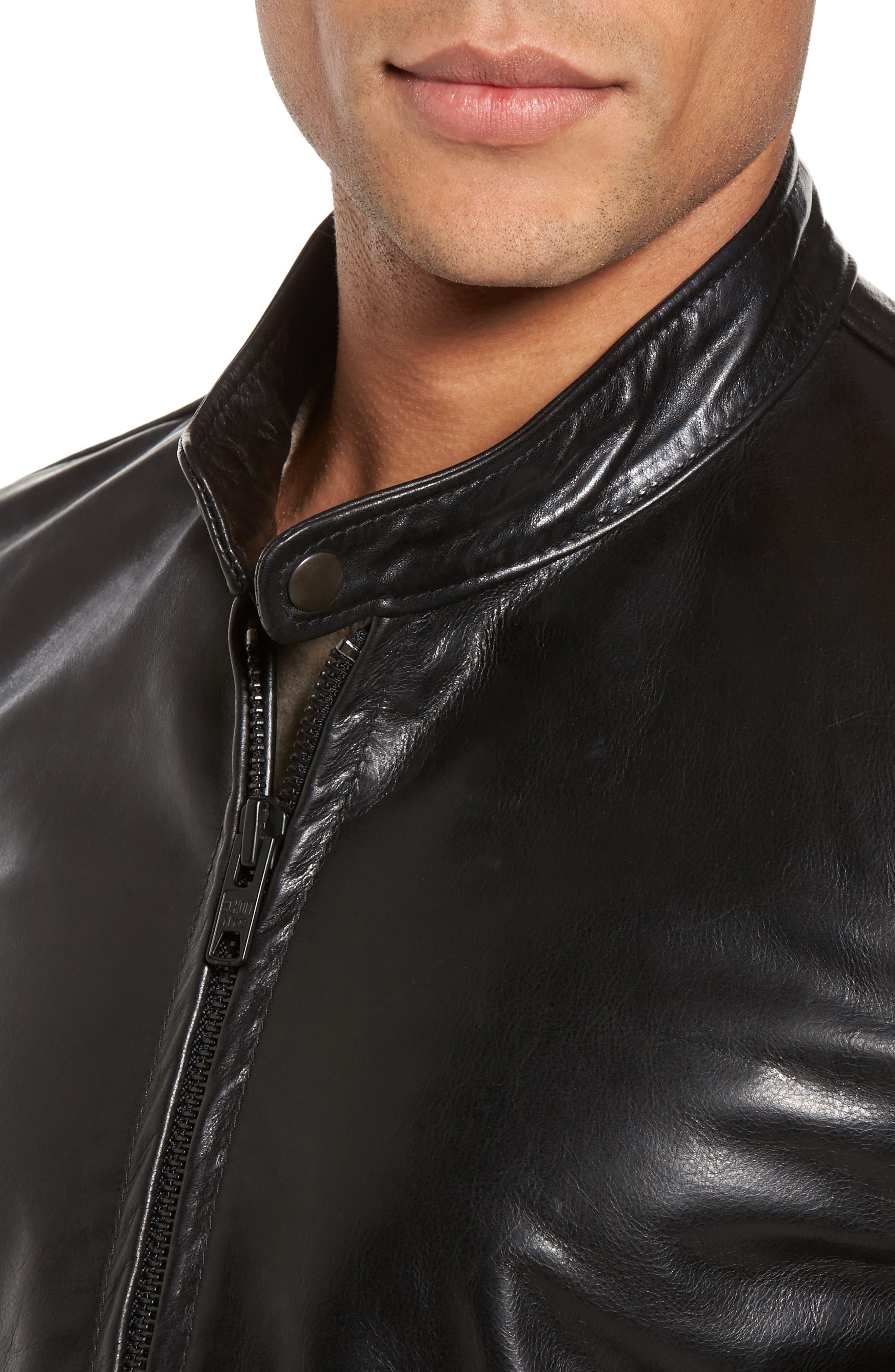 Café Racer Unlined Cowhide Leather Jacket,                             Alternate thumbnail 4, color,                             BLACK