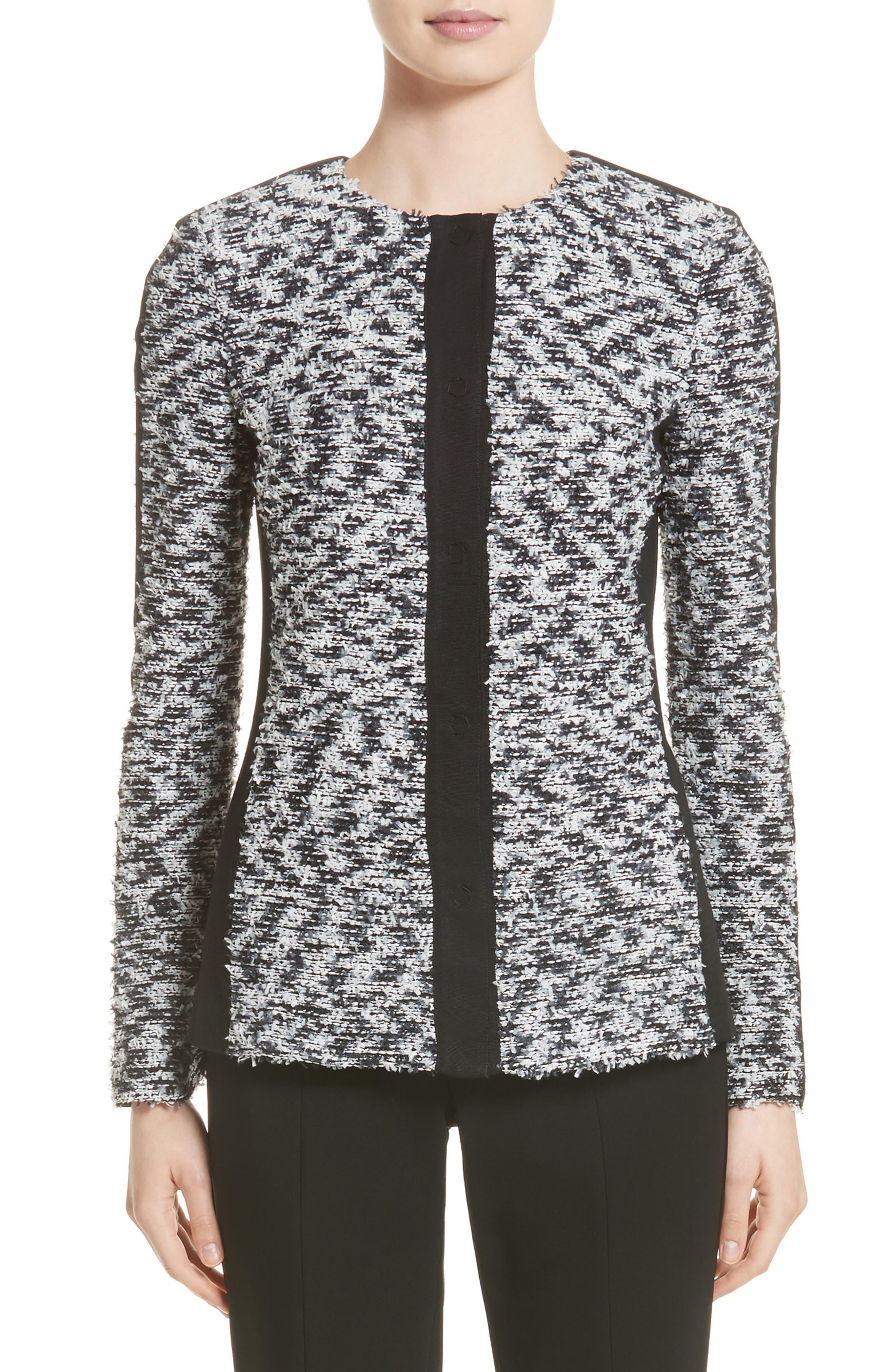 Eyelash Pebble Dash Tweed Knit Jacket,                             Main thumbnail 1, color,                             001