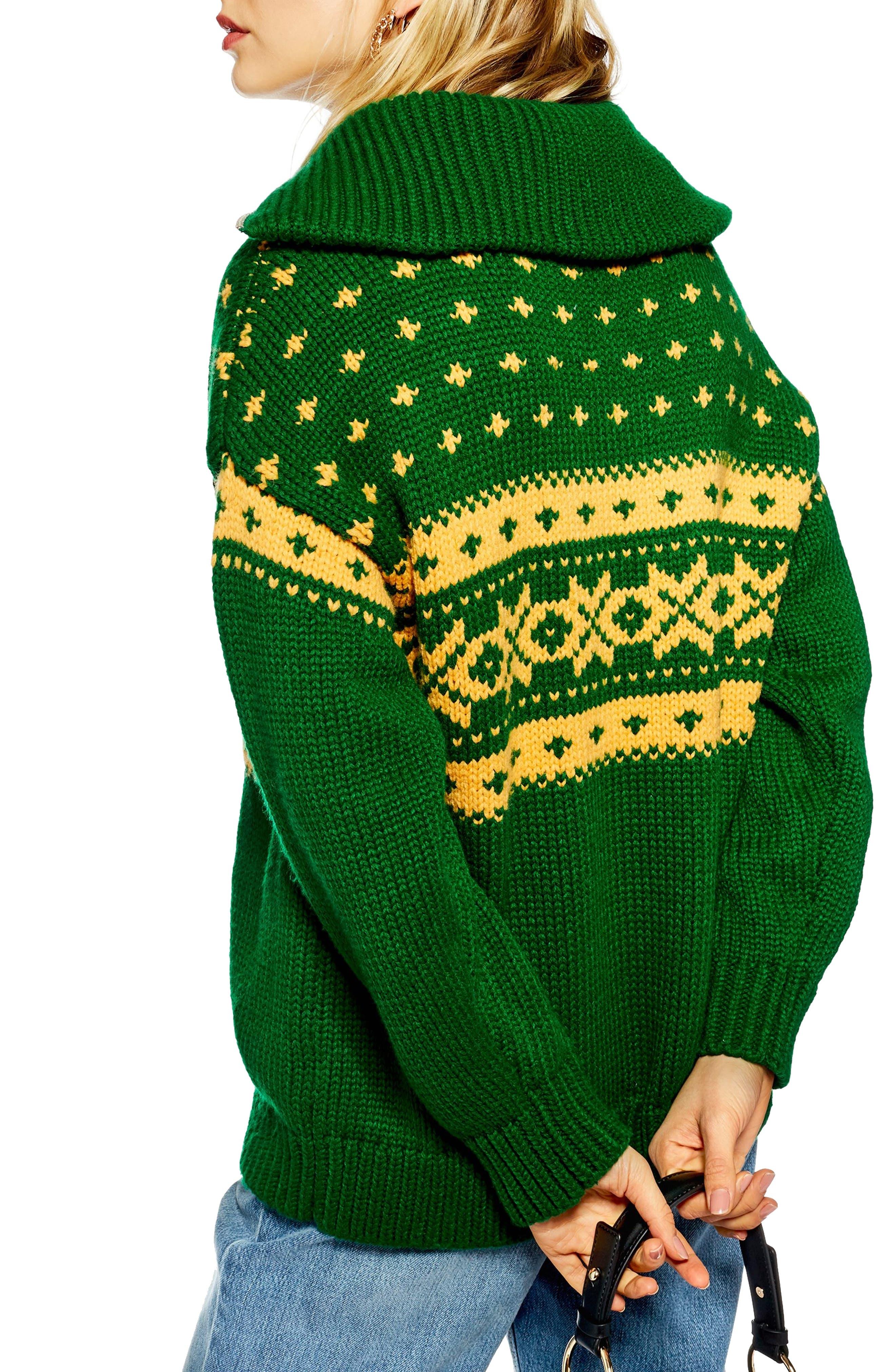 Fair Isle Zip Collar Sweater,                             Alternate thumbnail 2, color,                             GREEN MULTI