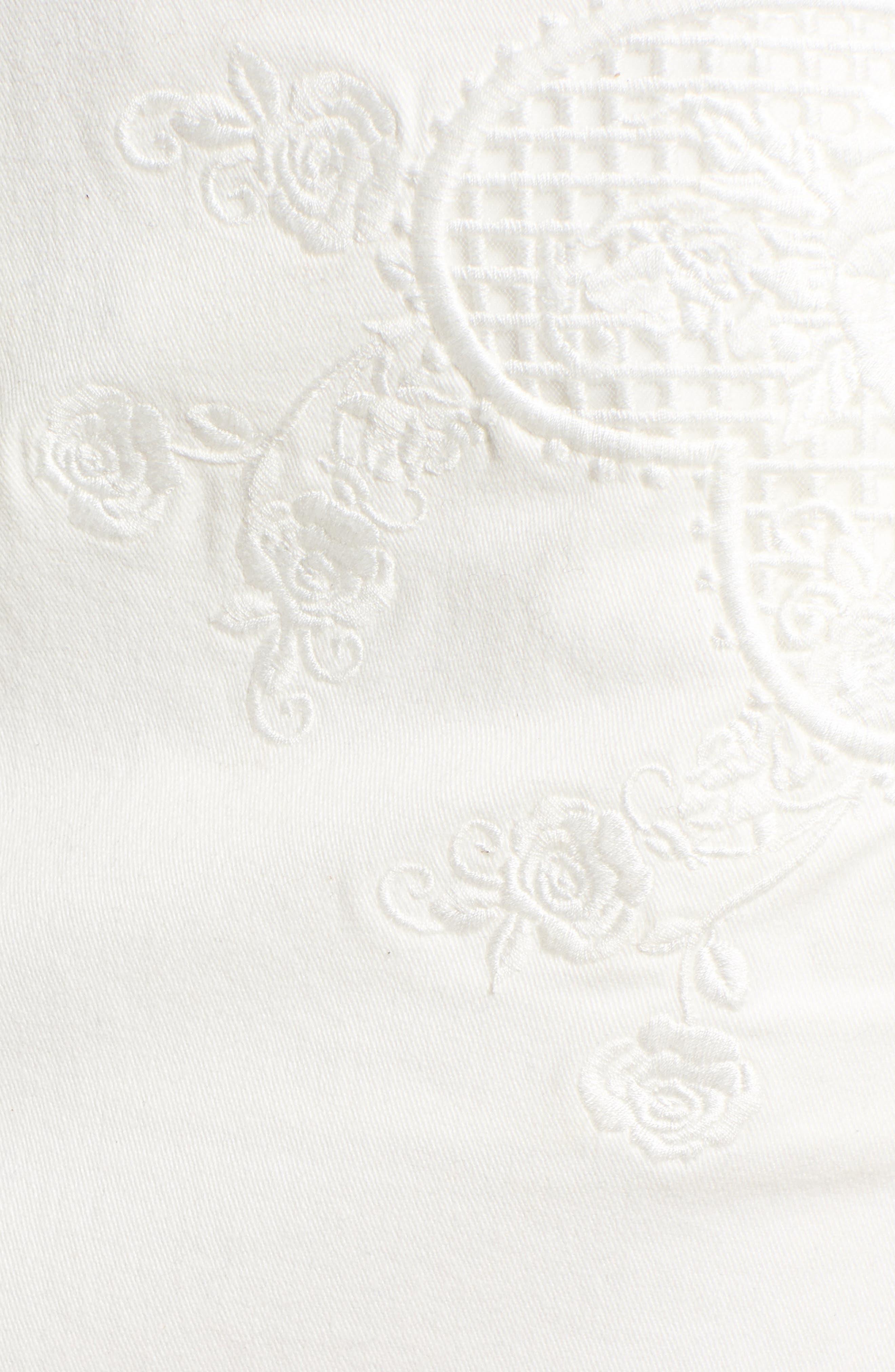 Eva Embroidered Denim Miniskirt,                             Alternate thumbnail 6, color,                             WHITE