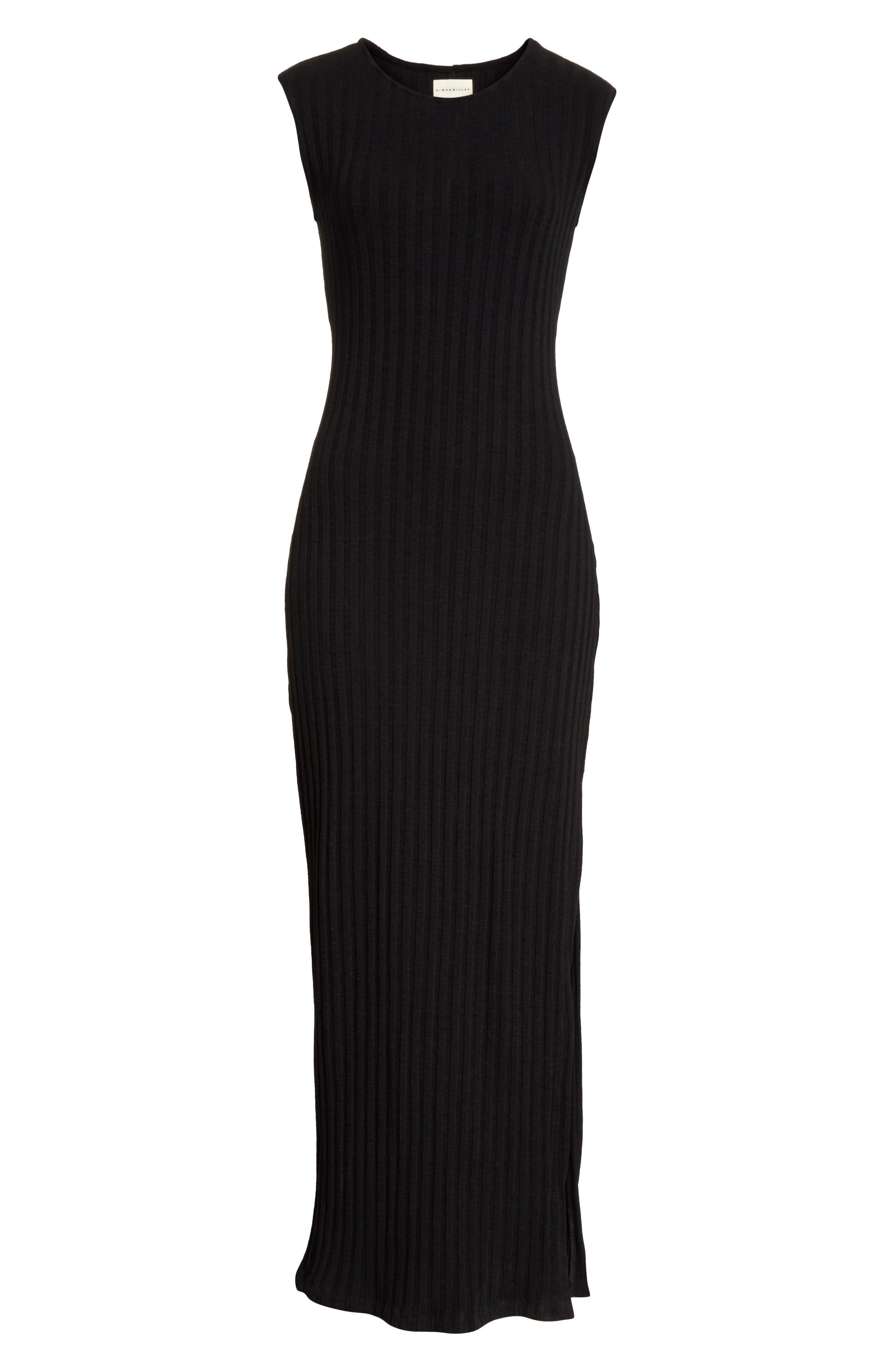 Tali Stretch Ribbed Body-Con Dress,                             Alternate thumbnail 7, color,                             BLACK
