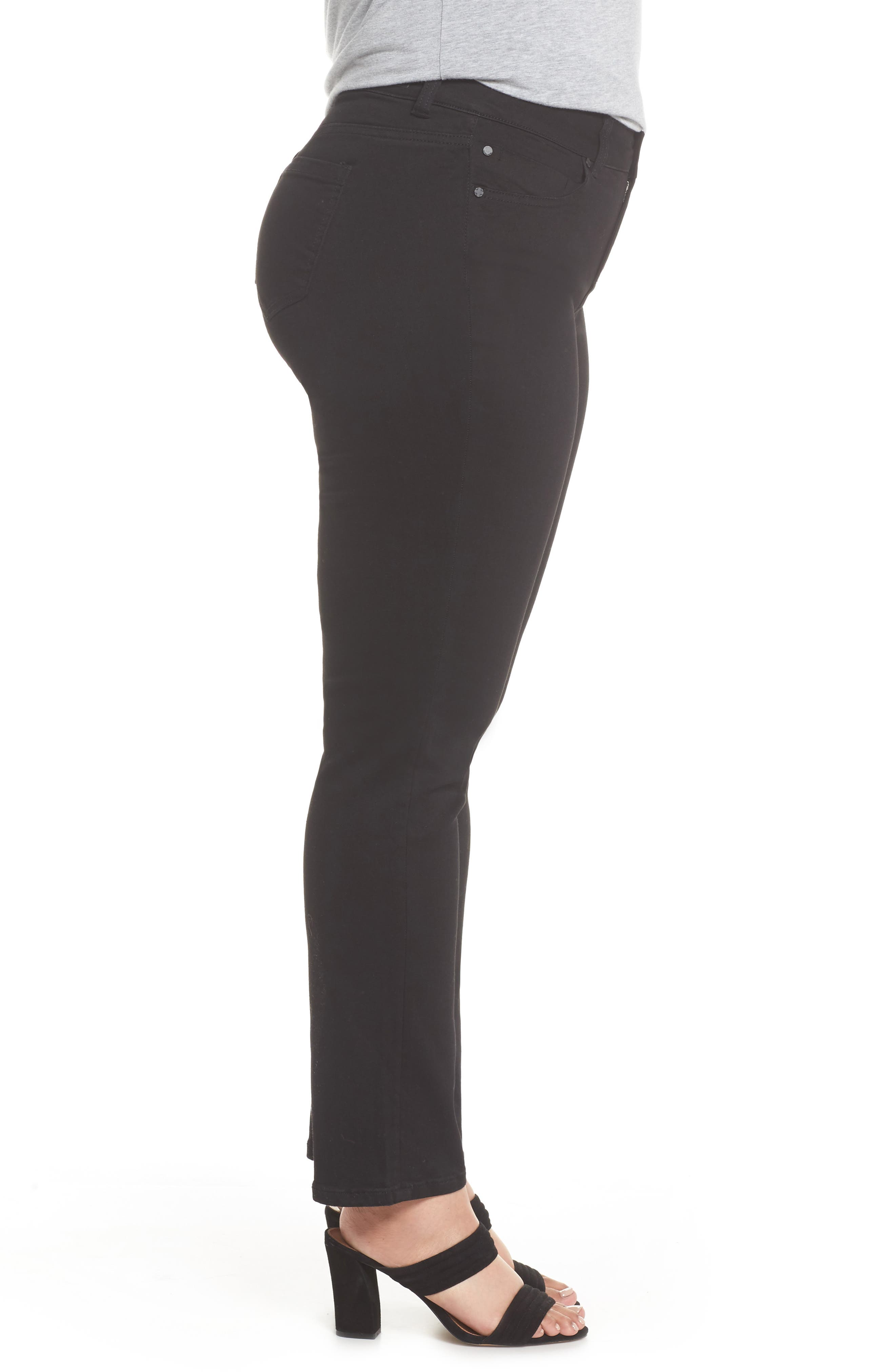 Sadie Stretch Straight Jeans,                             Alternate thumbnail 3, color,                             BLACK RINSE