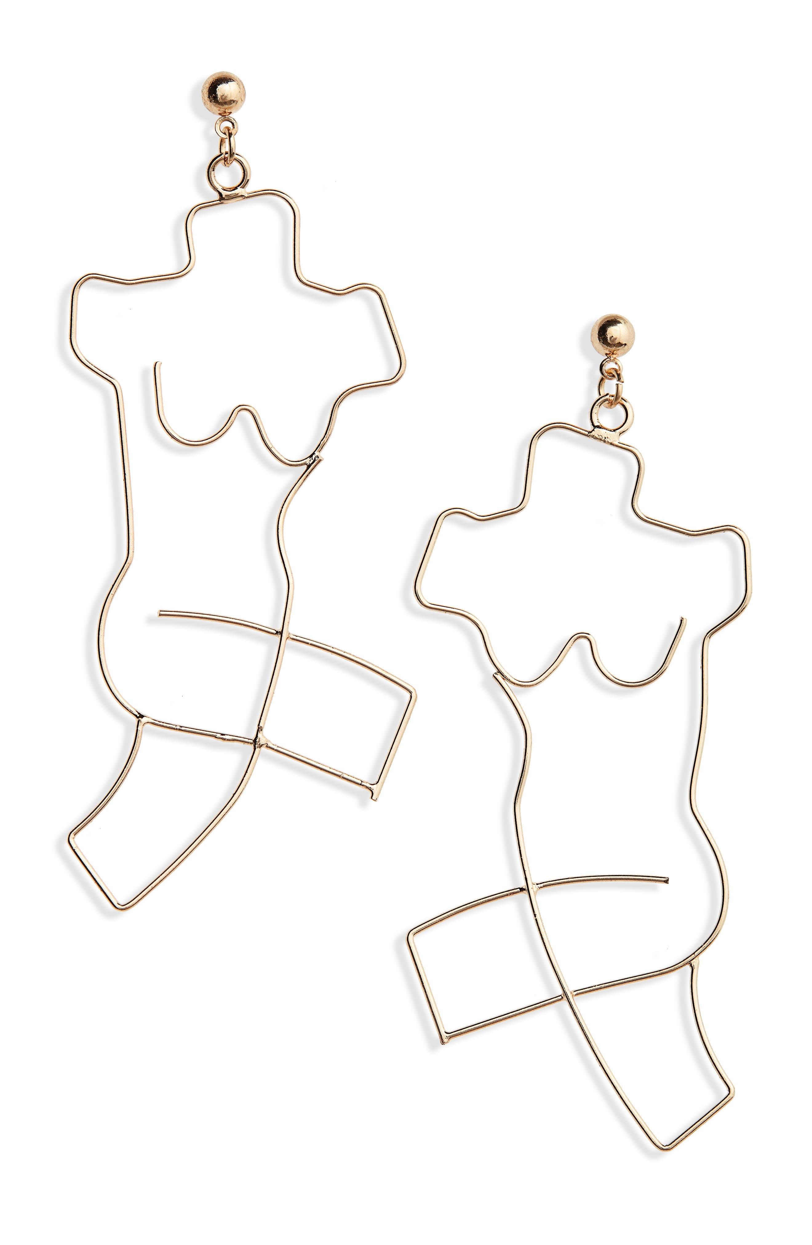 Body Earrings,                         Main,                         color, GOLD