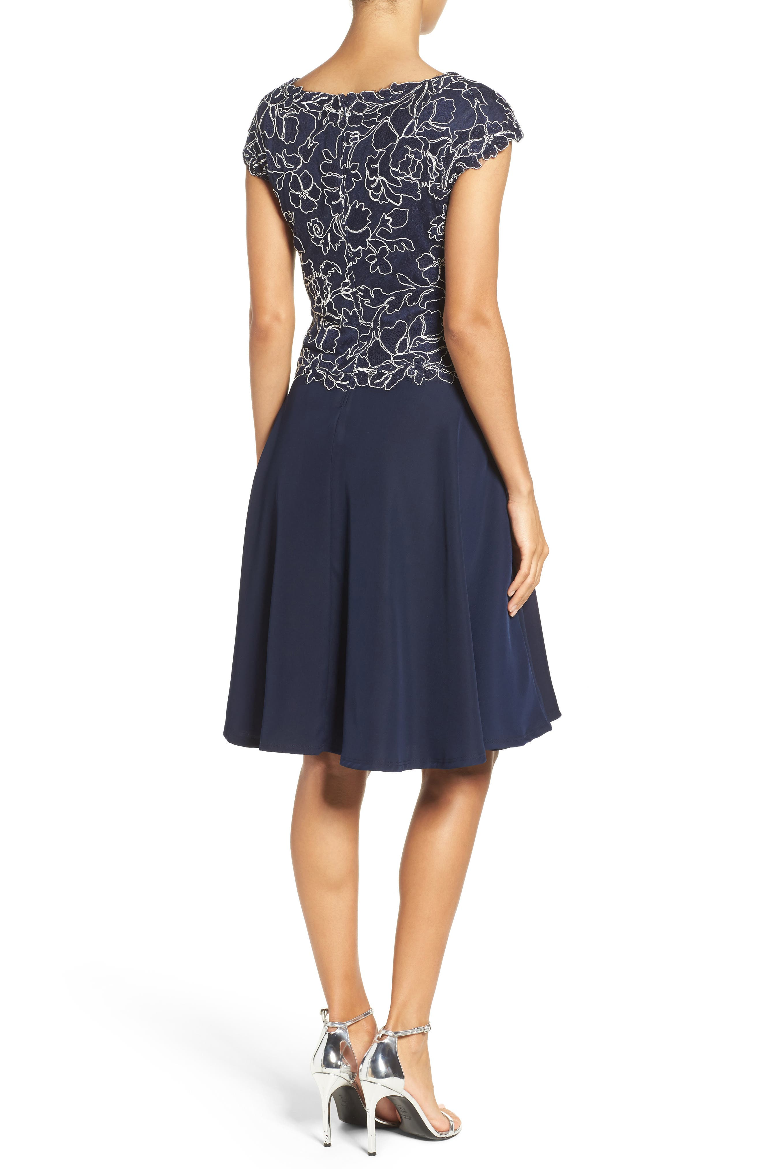 Embroidered Lace Fit & Flare Dress,                             Alternate thumbnail 6, color,