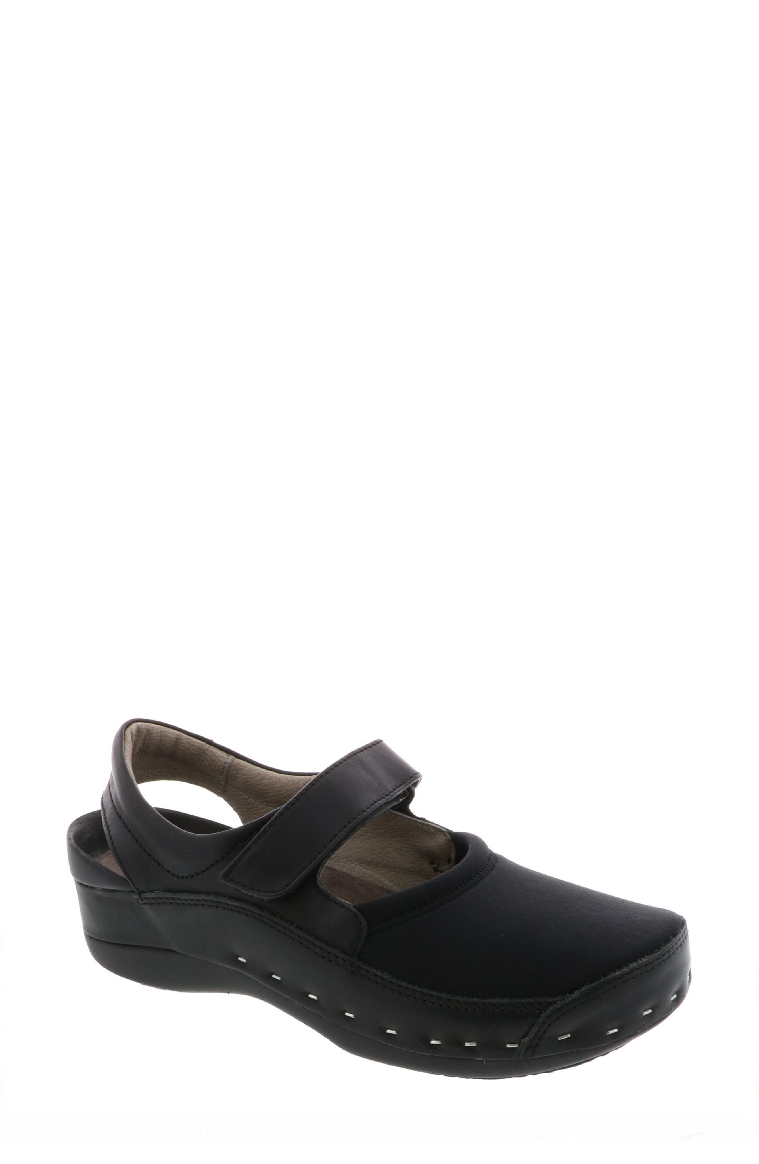 WOLKY,                             Ankle Strap Clog,                             Main thumbnail 1, color,                             BLACK LEATHER
