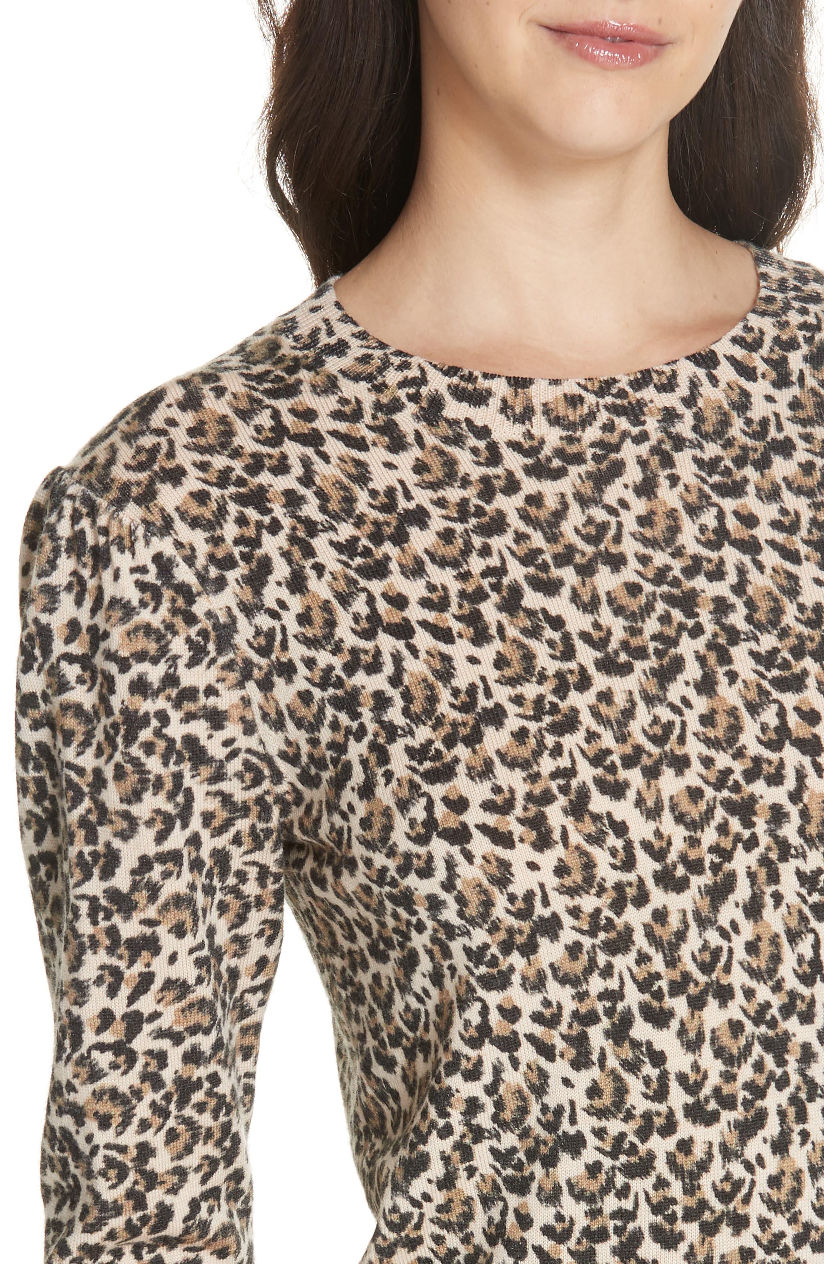 Leopard Print Wool Sweater,                             Alternate thumbnail 4, color,                             250