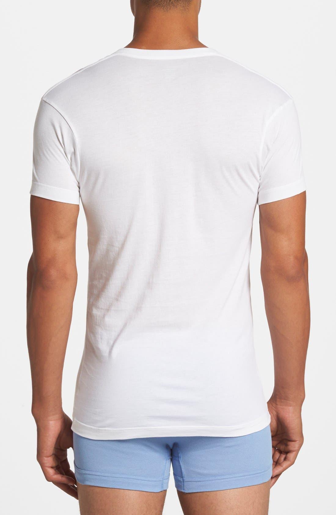 Slim Fit Pima Cotton Deep V-Neck T-Shirt,                             Alternate thumbnail 2, color,                             WHITE