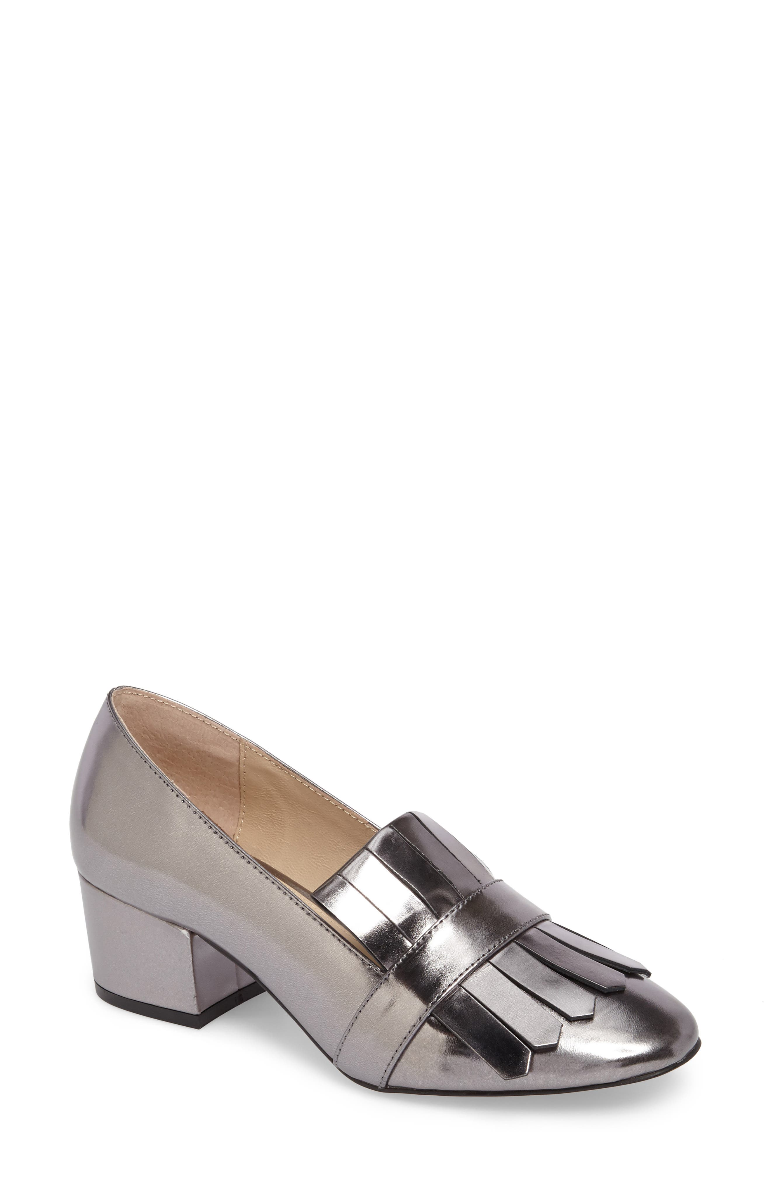Olive Loafer Pump,                             Main thumbnail 1, color,                             PEWTER LEATHER