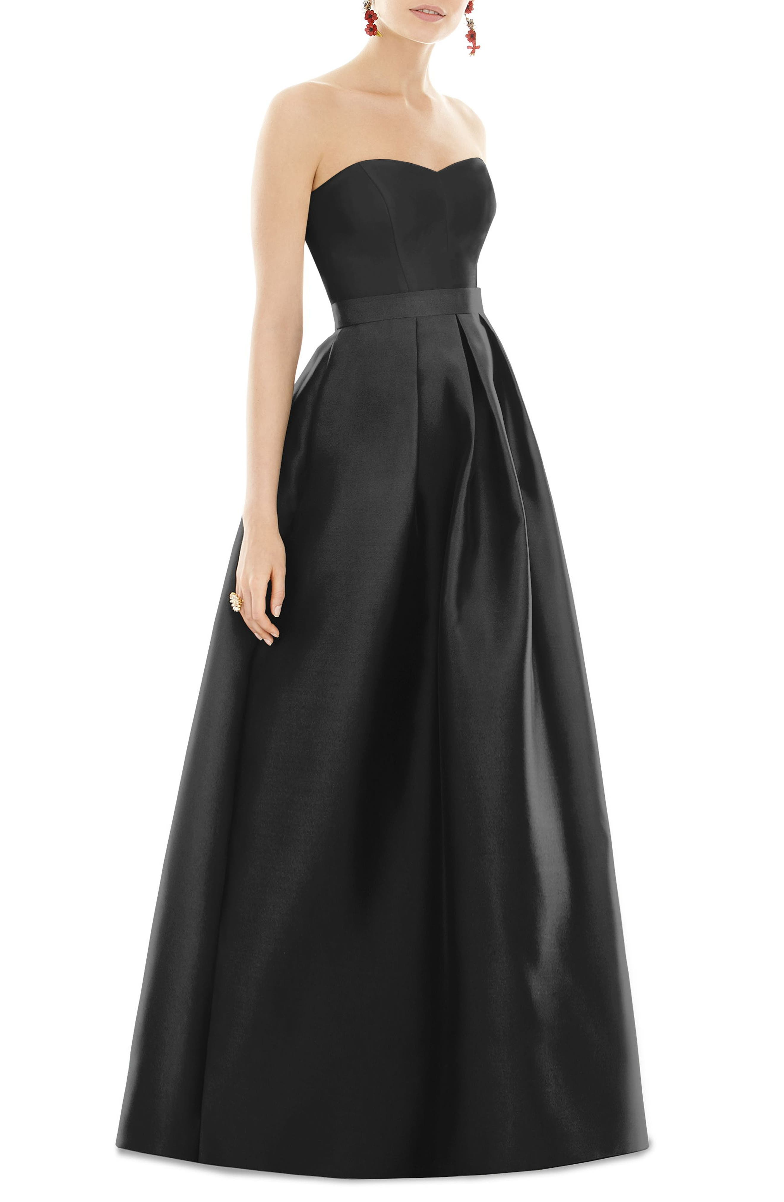 Strapless Sateen Gown,                         Main,                         color, BLACK