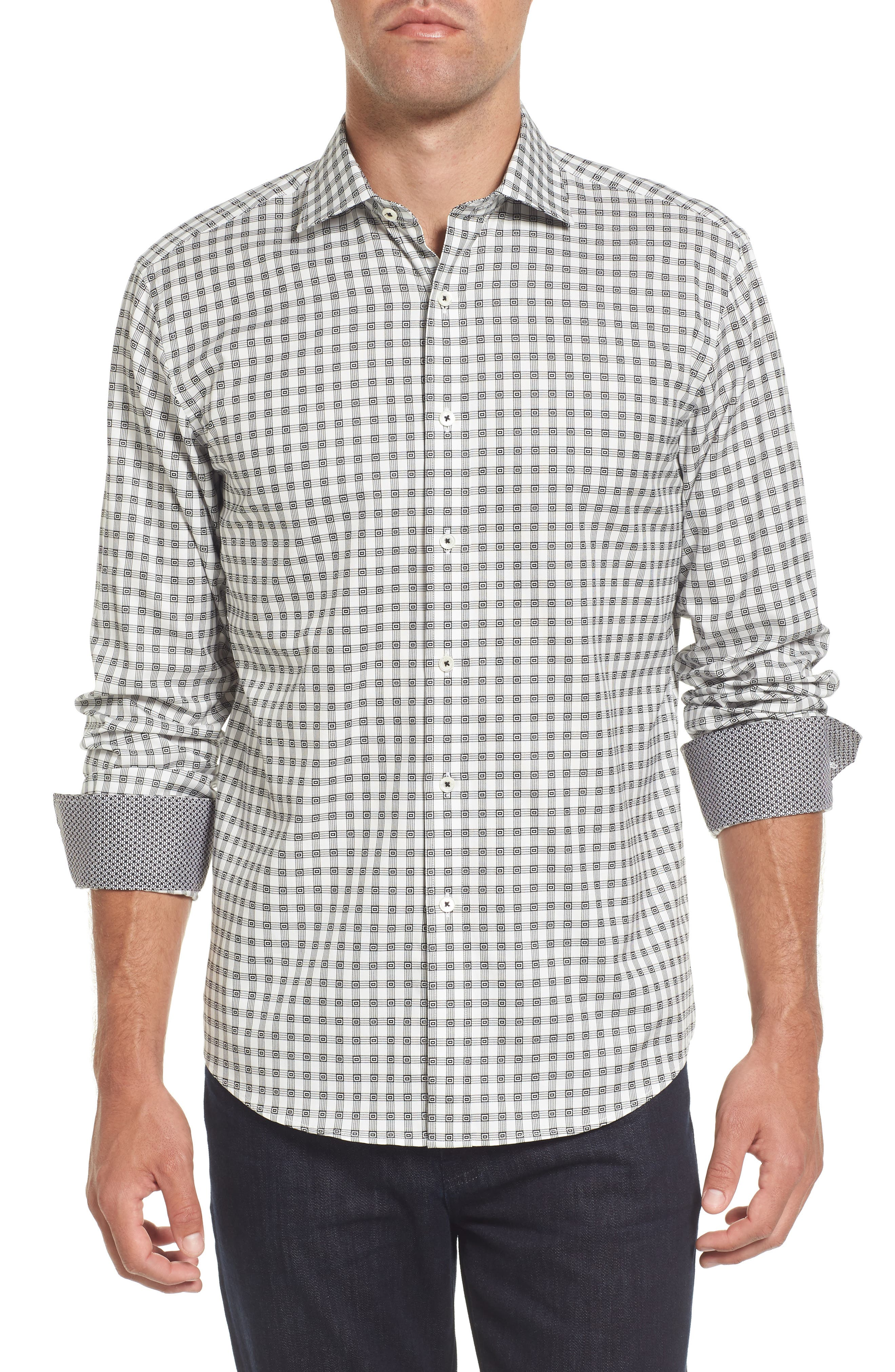 Shaped Fit Check Sport Shirt,                         Main,                         color, 020