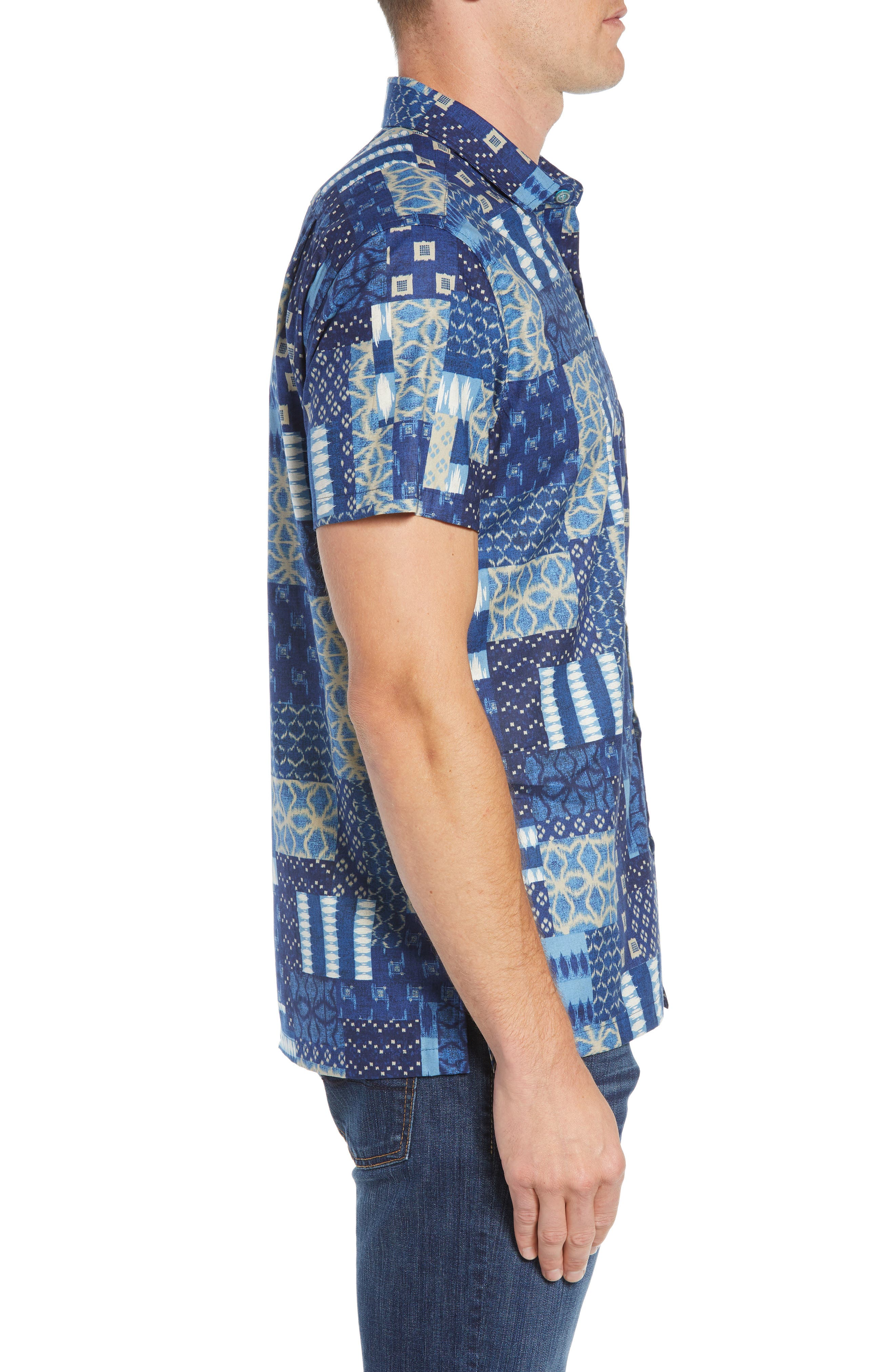 Yukata Trim Fit Sport Shirt,                             Alternate thumbnail 4, color,                             NAVY