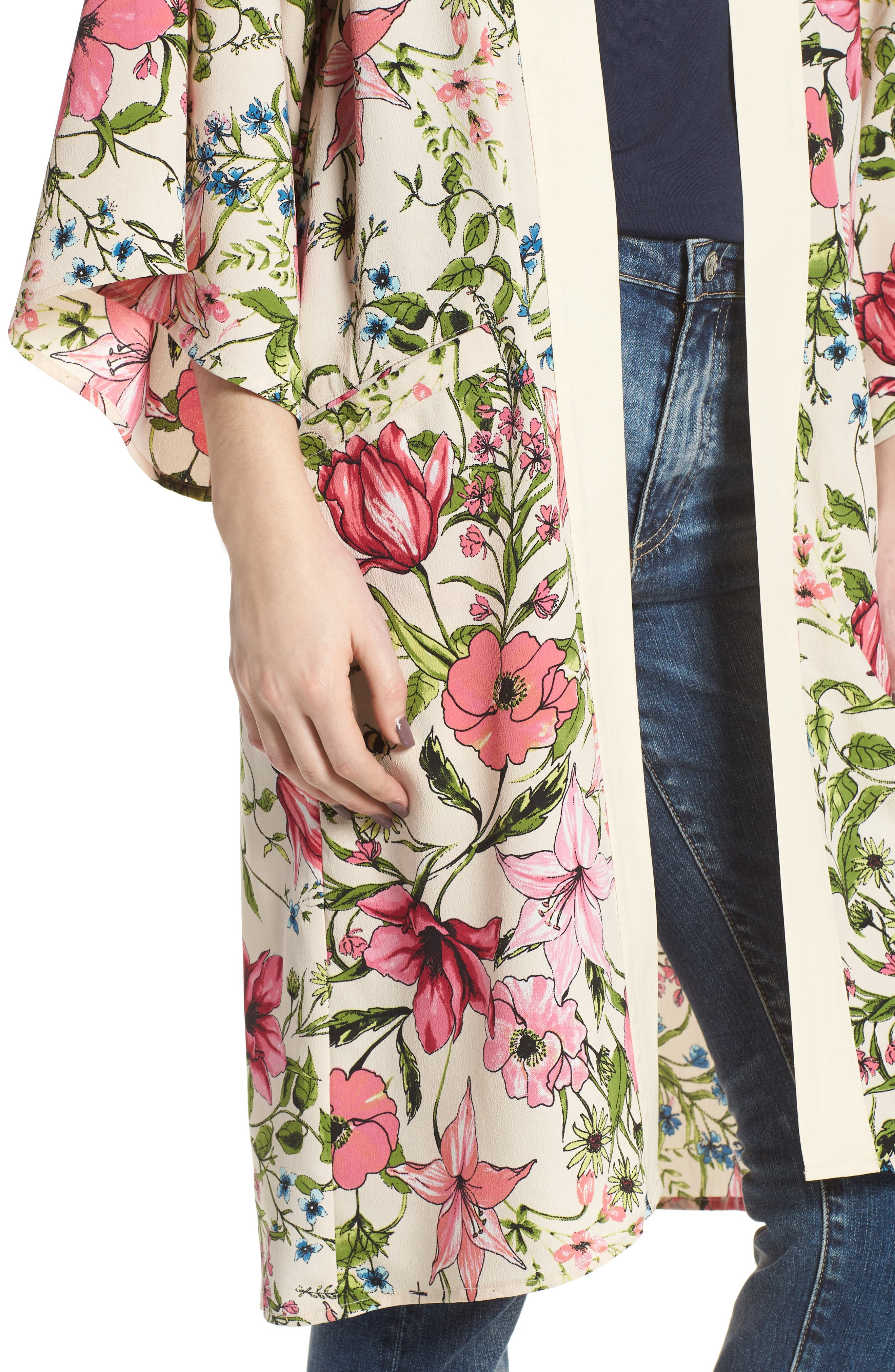 Floral Crepe Kimono,                             Alternate thumbnail 4, color,                             277