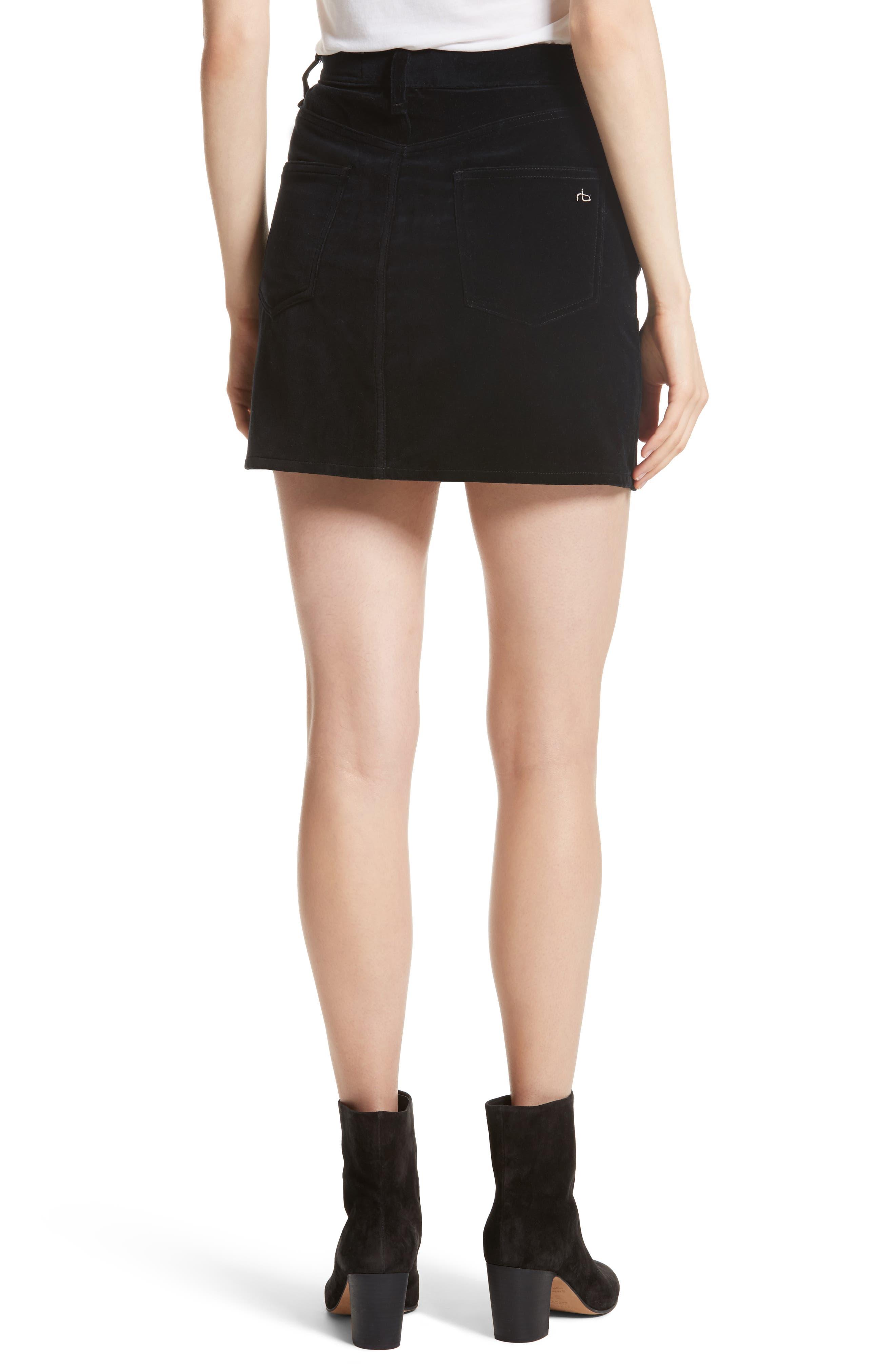 Dive Velvet Miniskirt,                             Alternate thumbnail 2, color,                             001