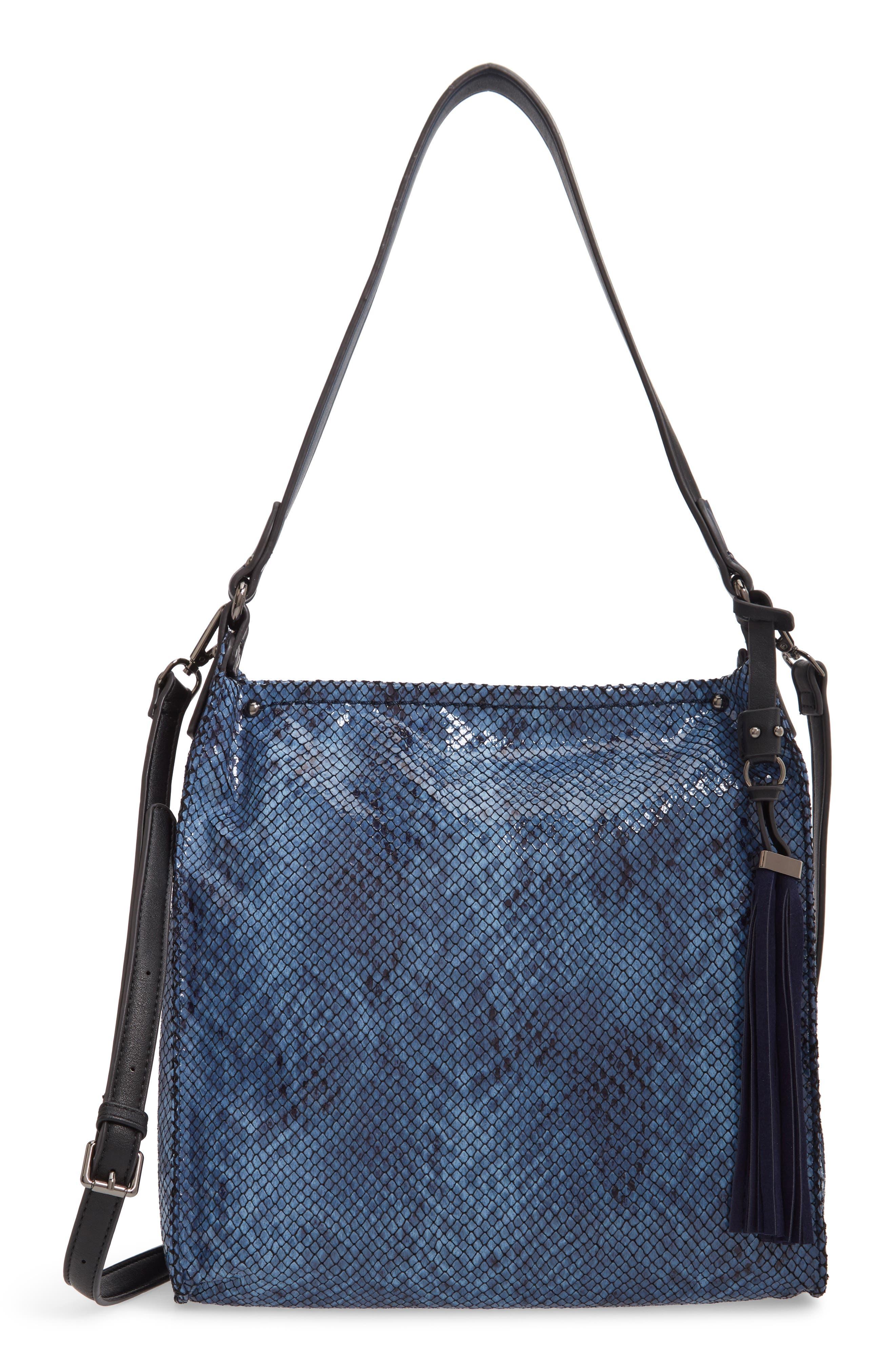 SONDRA ROBERTS Snake Embossed Faux Leather Hobo - Blue in Denim