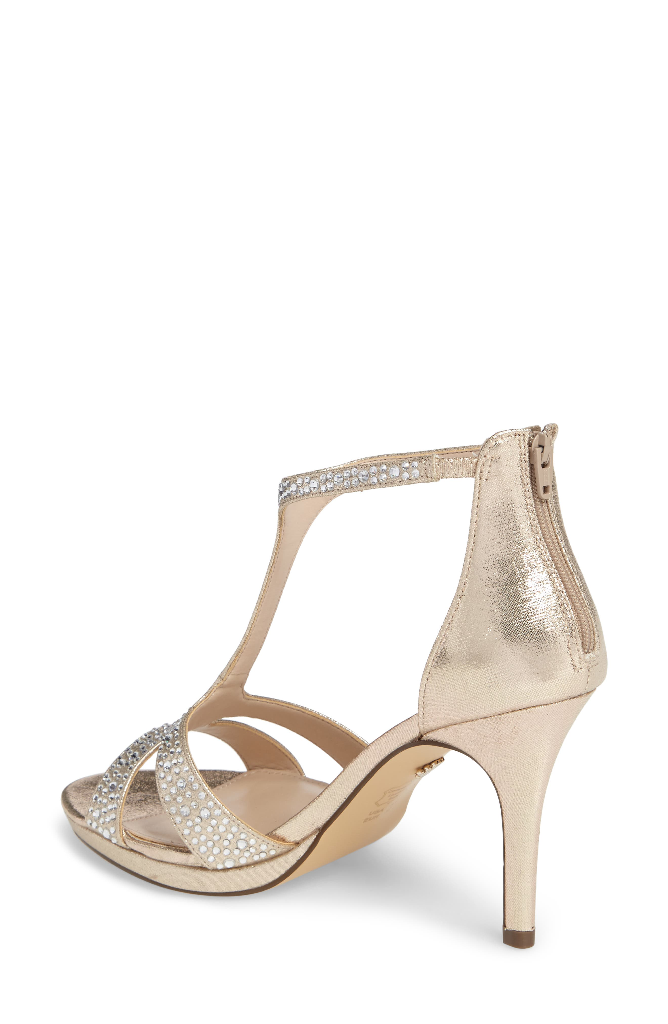 Brietta Embellished T-Strap Sandal,                             Alternate thumbnail 2, color,                             TAUPE FABRIC