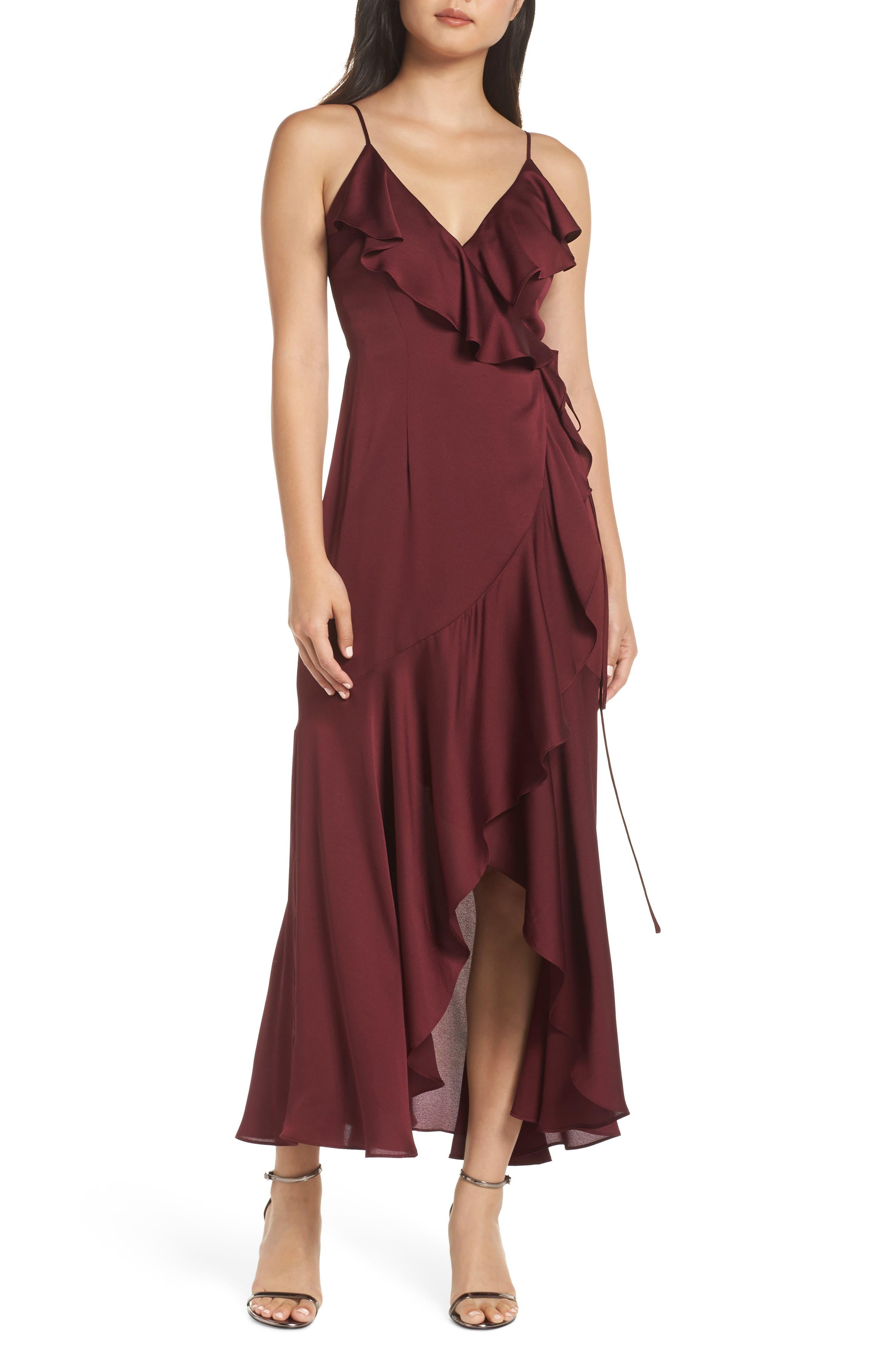 SHONA JOY Luxe Ruffle Trim Wrap Gown in Garnet