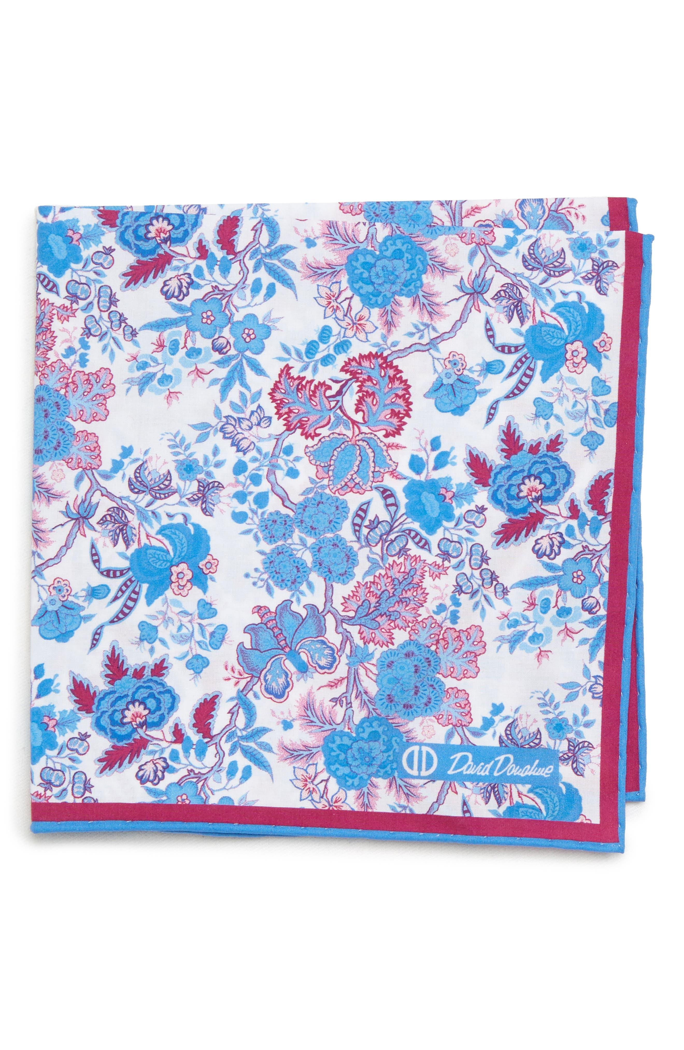 Floral Cotton Pocket Square,                         Main,                         color, BERRY