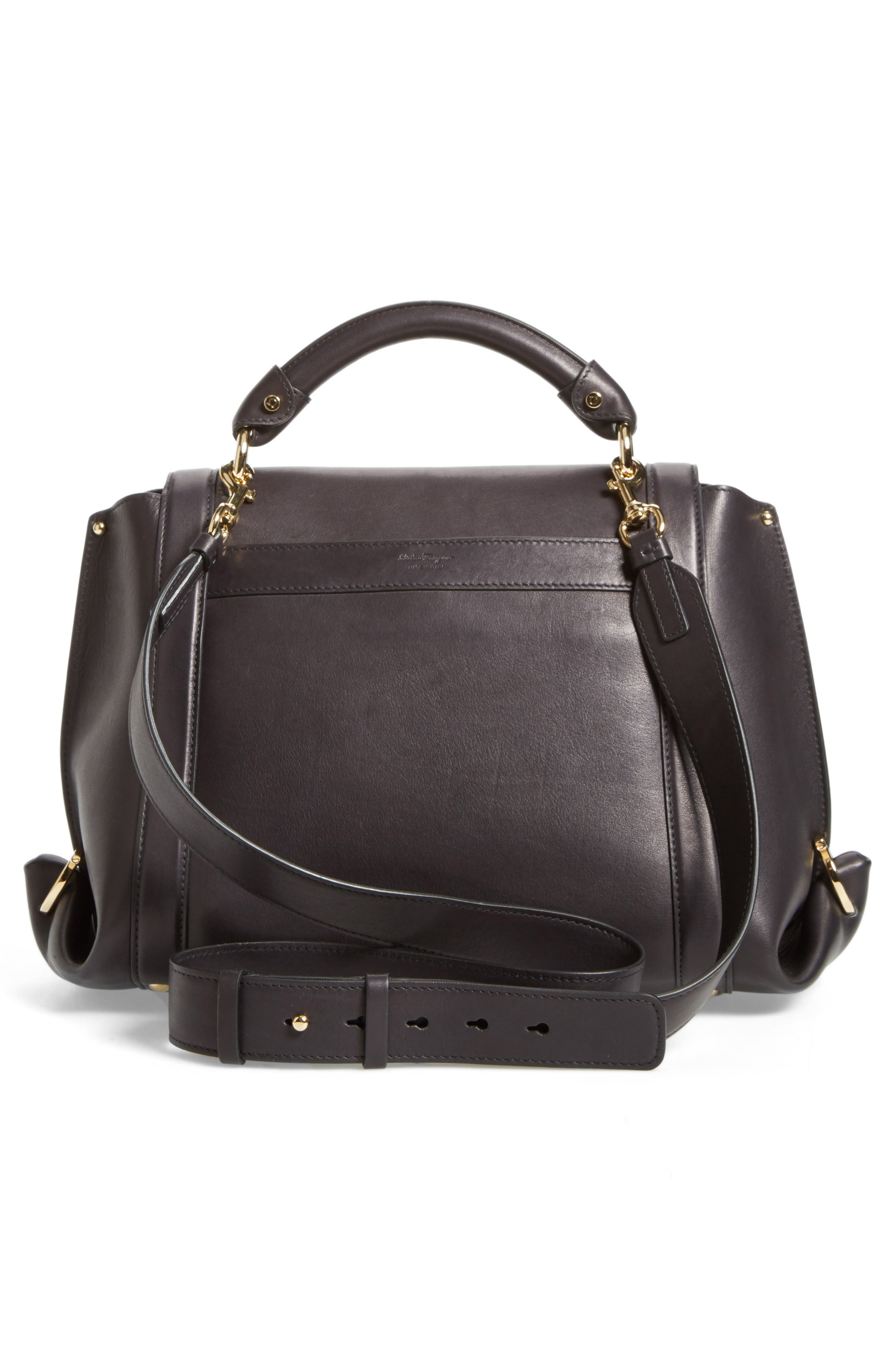 Medium Leather Satchel,                             Alternate thumbnail 3, color,                             001