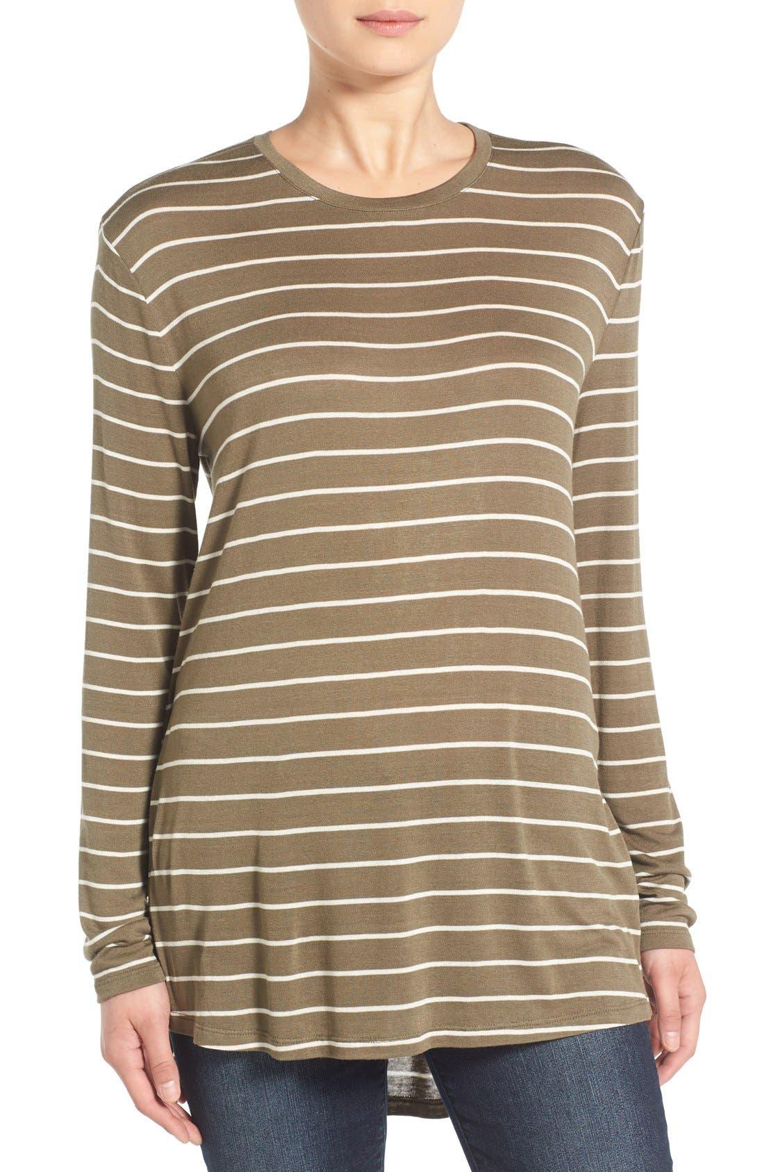 BP.,                             Stripe Long Sleeve Crewneck Tee,                             Main thumbnail 1, color,                             315