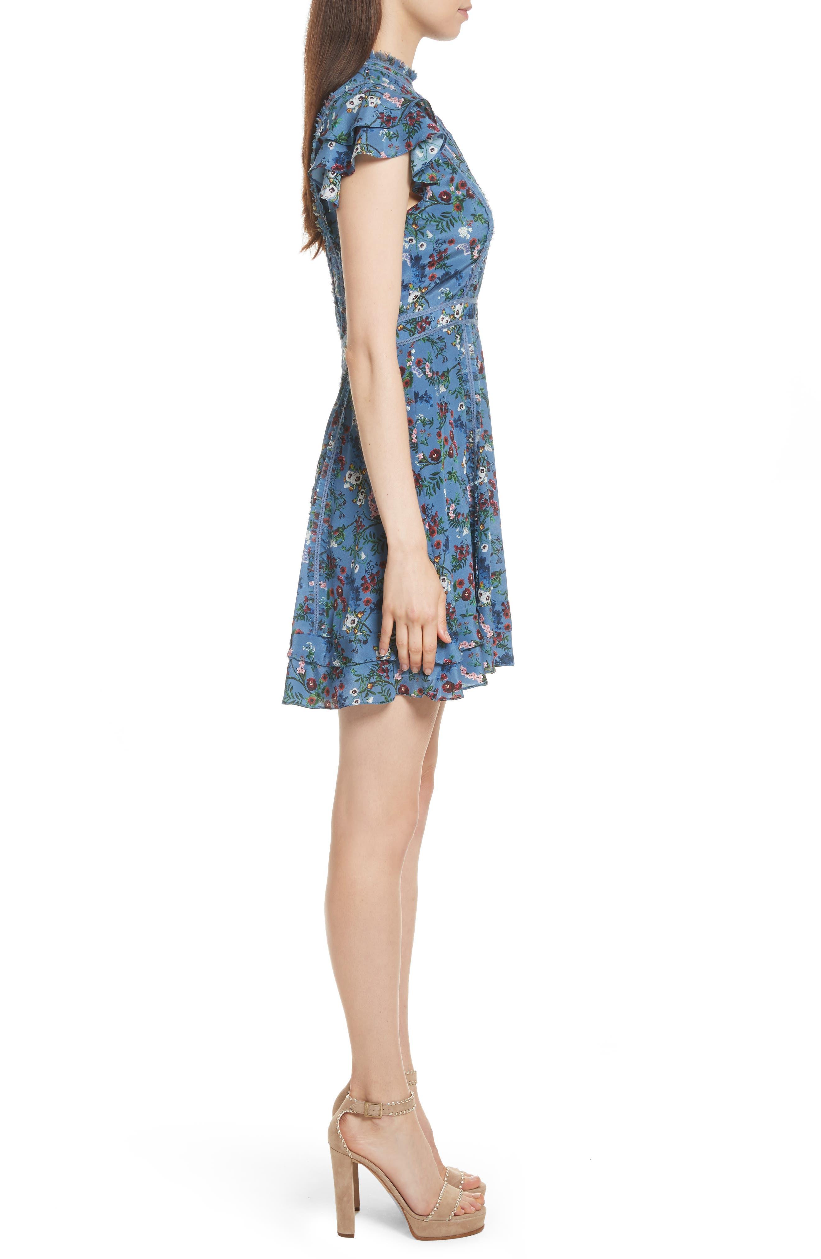 Marta High Neck Floral Silk Dress,                             Alternate thumbnail 3, color,                             486