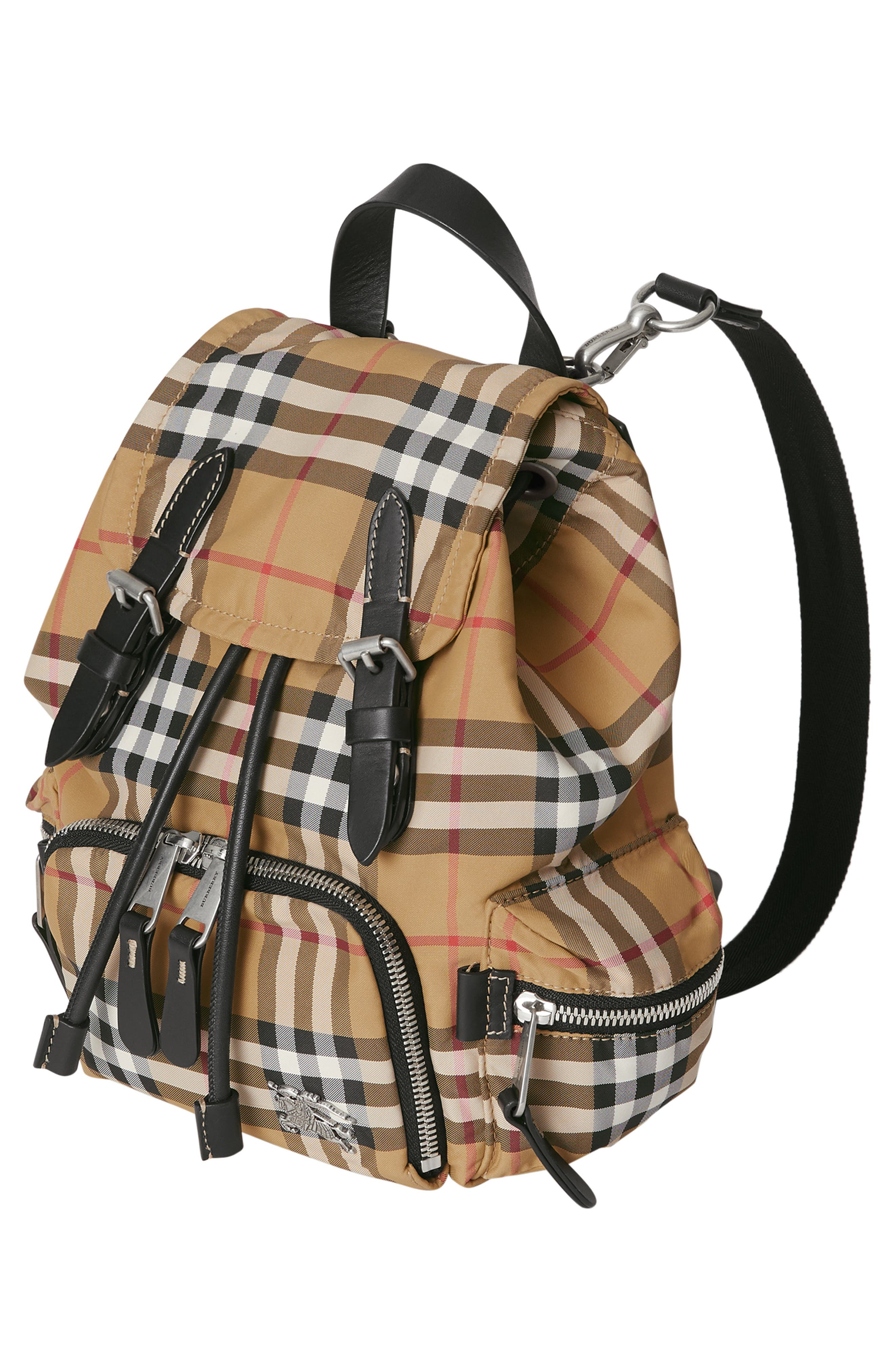 BURBERRY,                             Small Rucksack Vintage Check Nylon Backpack,                             Alternate thumbnail 4, color,                             ANTIQUE YELLOW/ BLACK