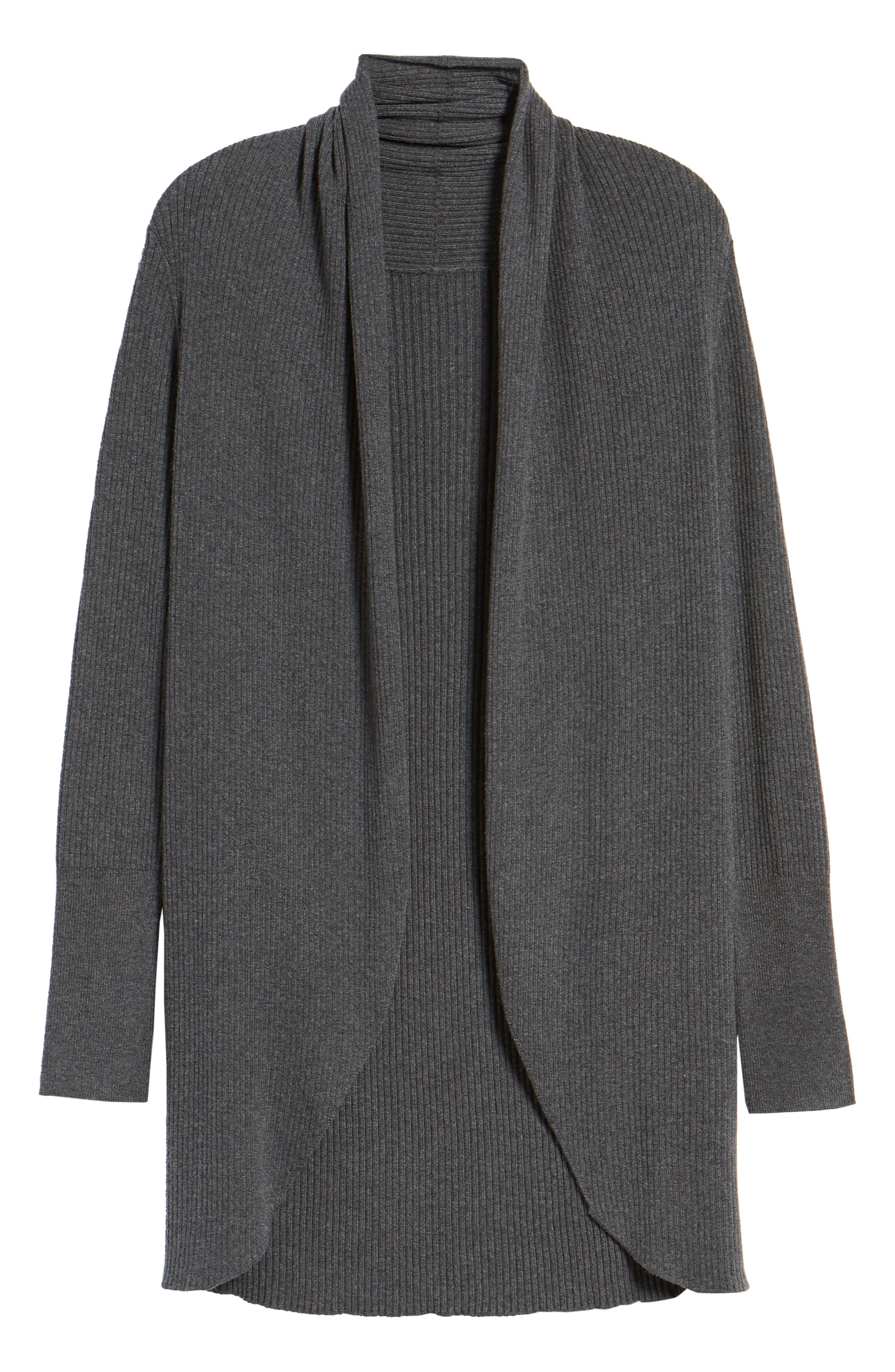 Ribbed Shawl Cocoon Sweater,                             Alternate thumbnail 7, color,                             GREY MEDIUM CHARCOAL HEATHER