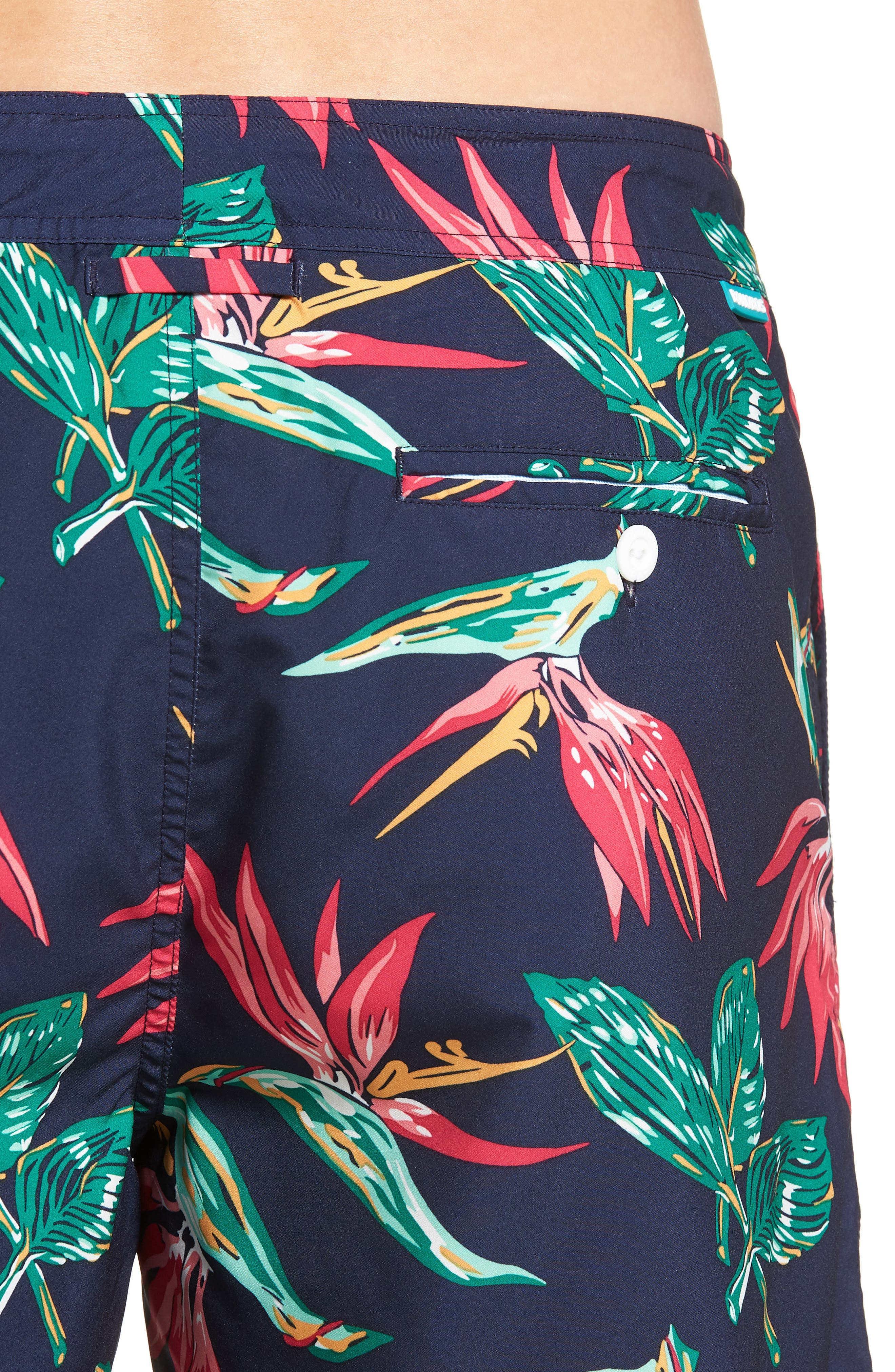 Banzai 9-Inch Swim Trunks,                             Alternate thumbnail 4, color,                             BIRD OF PARADISE