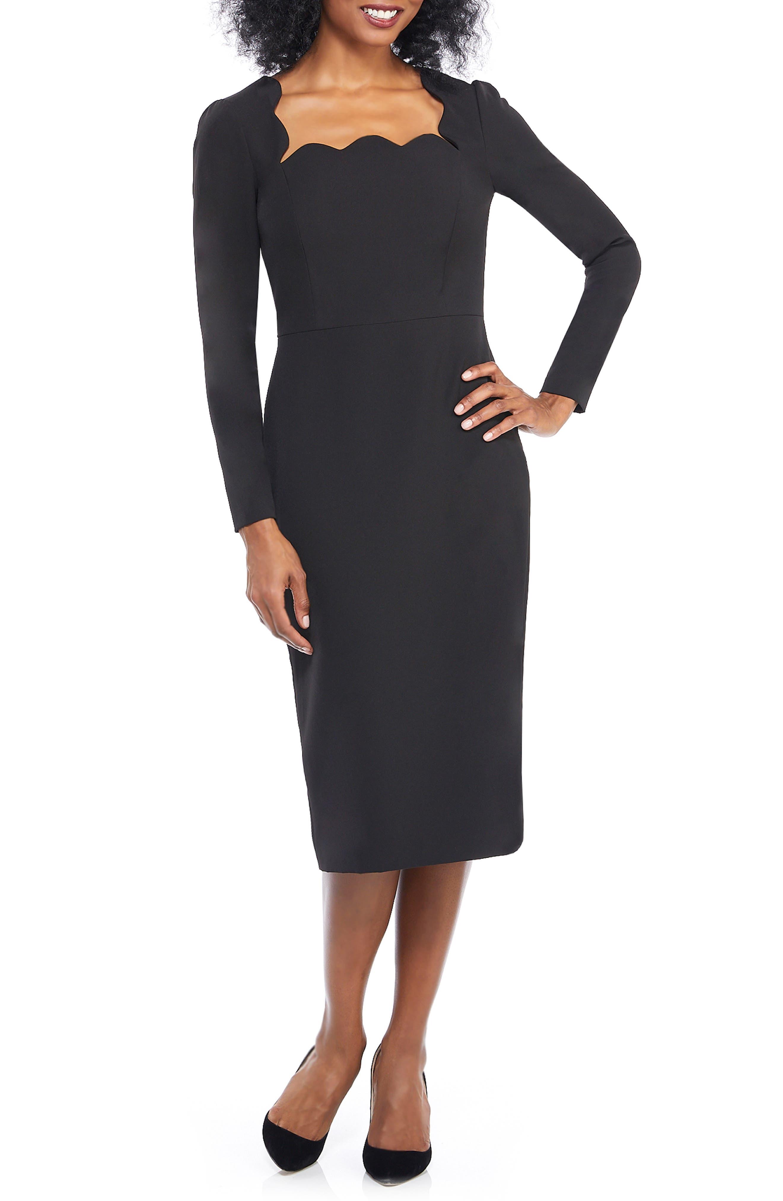 MAGGY LONDON Square Neck Dream Crepe Midi Dress in Black