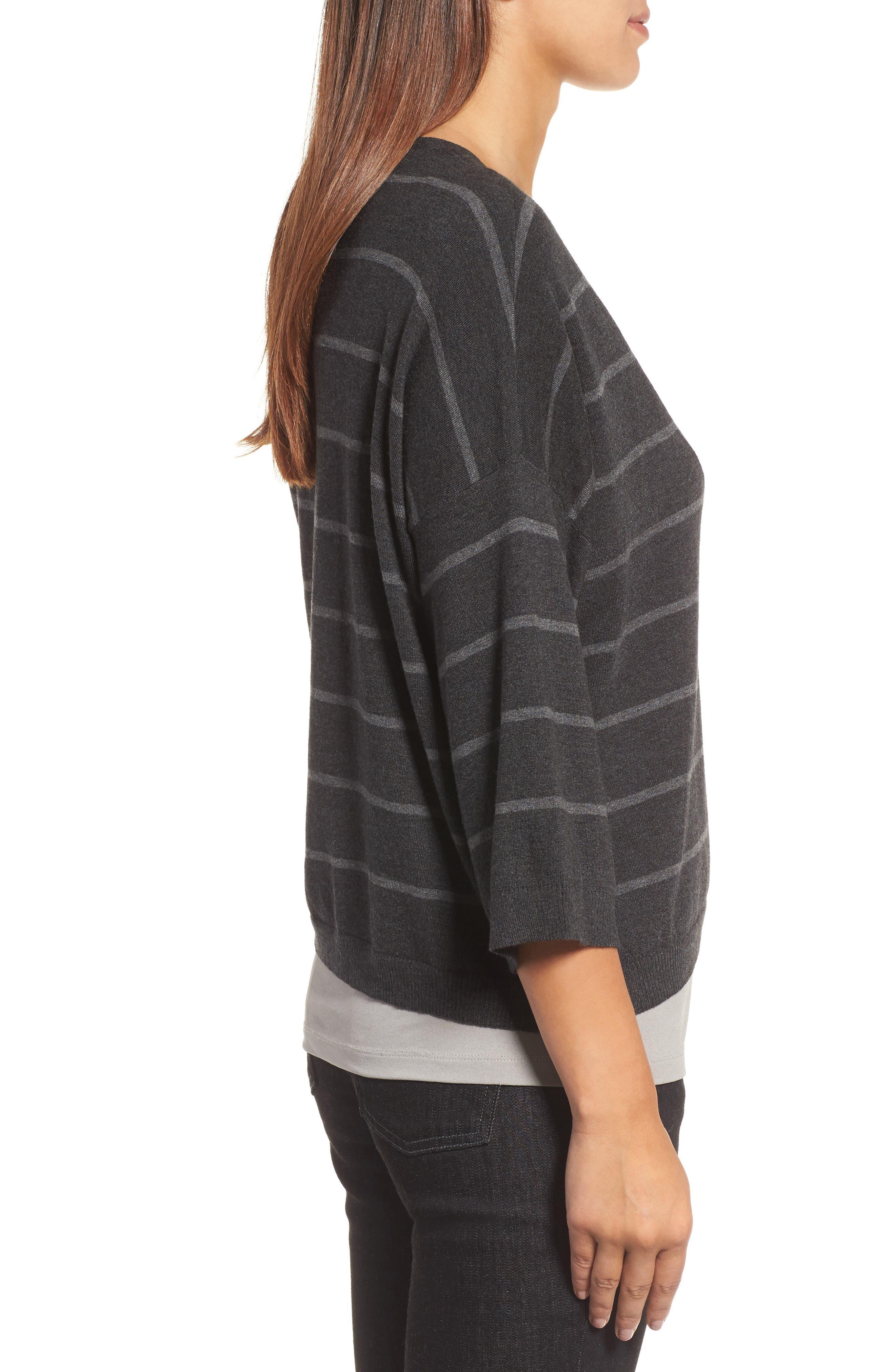 Stripe Tencel<sup>®</sup> Blend Crop Sweater,                             Alternate thumbnail 3, color,                             064