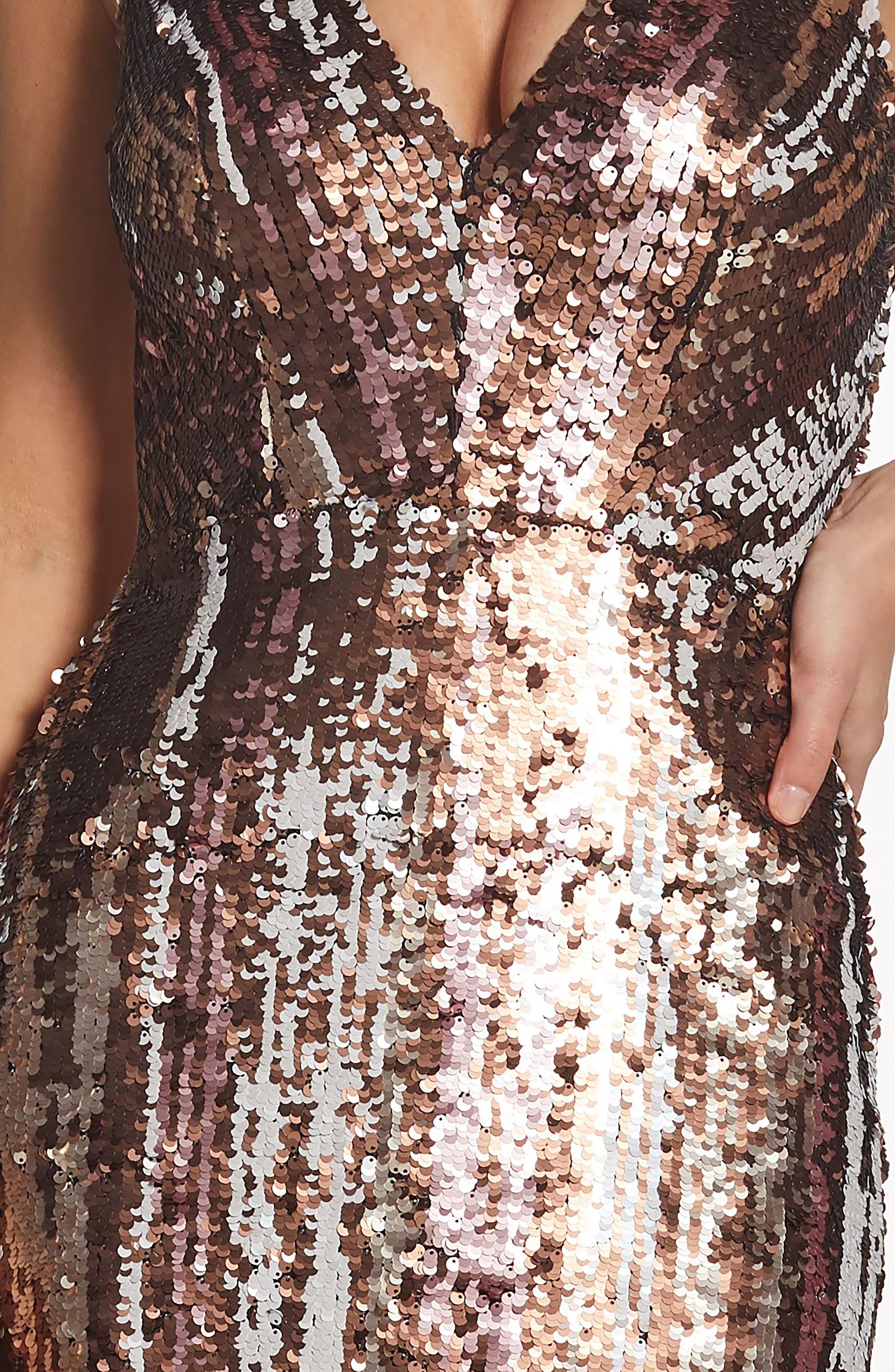 Margo Plunge Neck Sequin Dress,                             Alternate thumbnail 4, color,                             MATTE BRONZE MULTI
