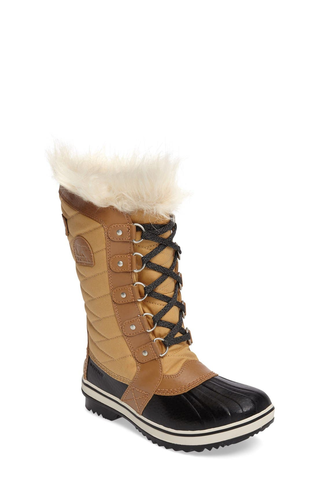 Tofino II Faux Fur Lined Waterproof Boot,                             Main thumbnail 1, color,                             CURRY/ ELK