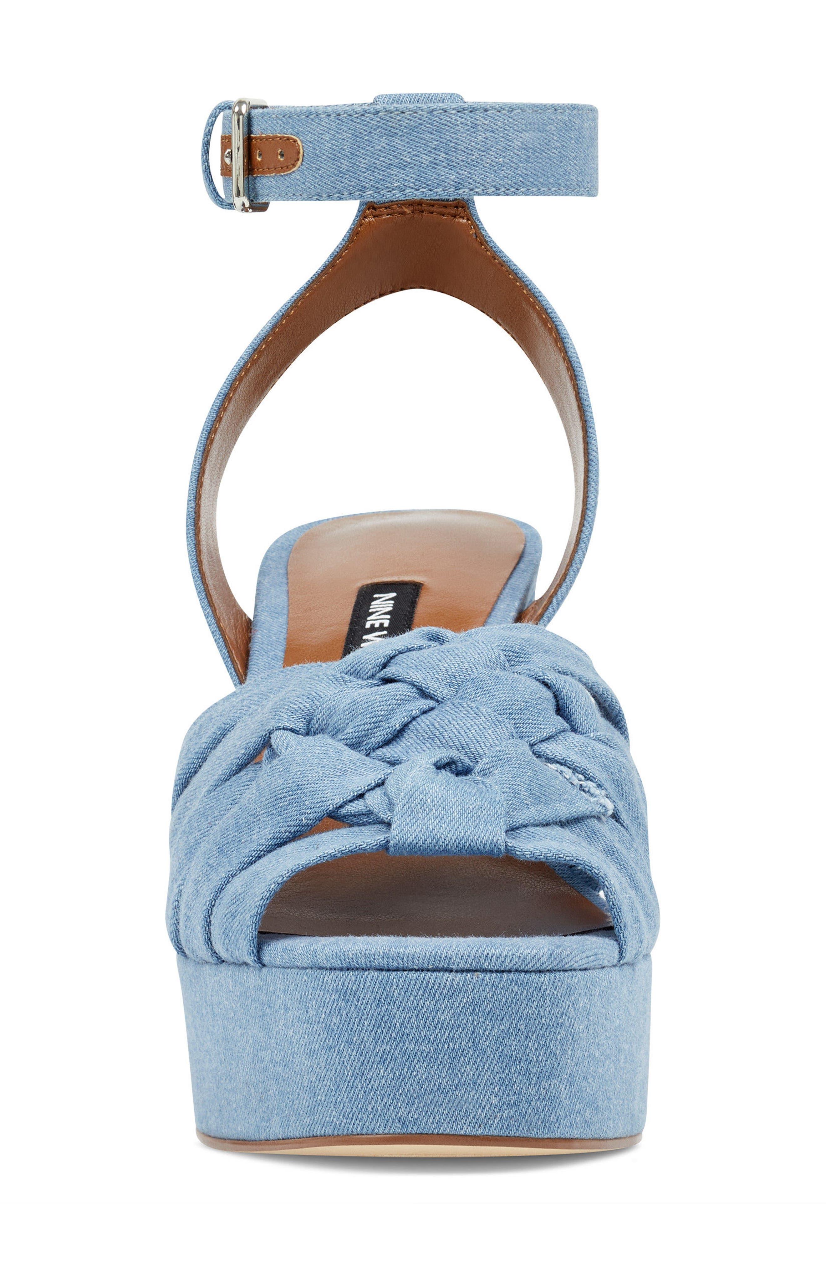 Fetuchini Platform Sandal,                             Alternate thumbnail 4, color,                             LIGHT BLUE DENIM