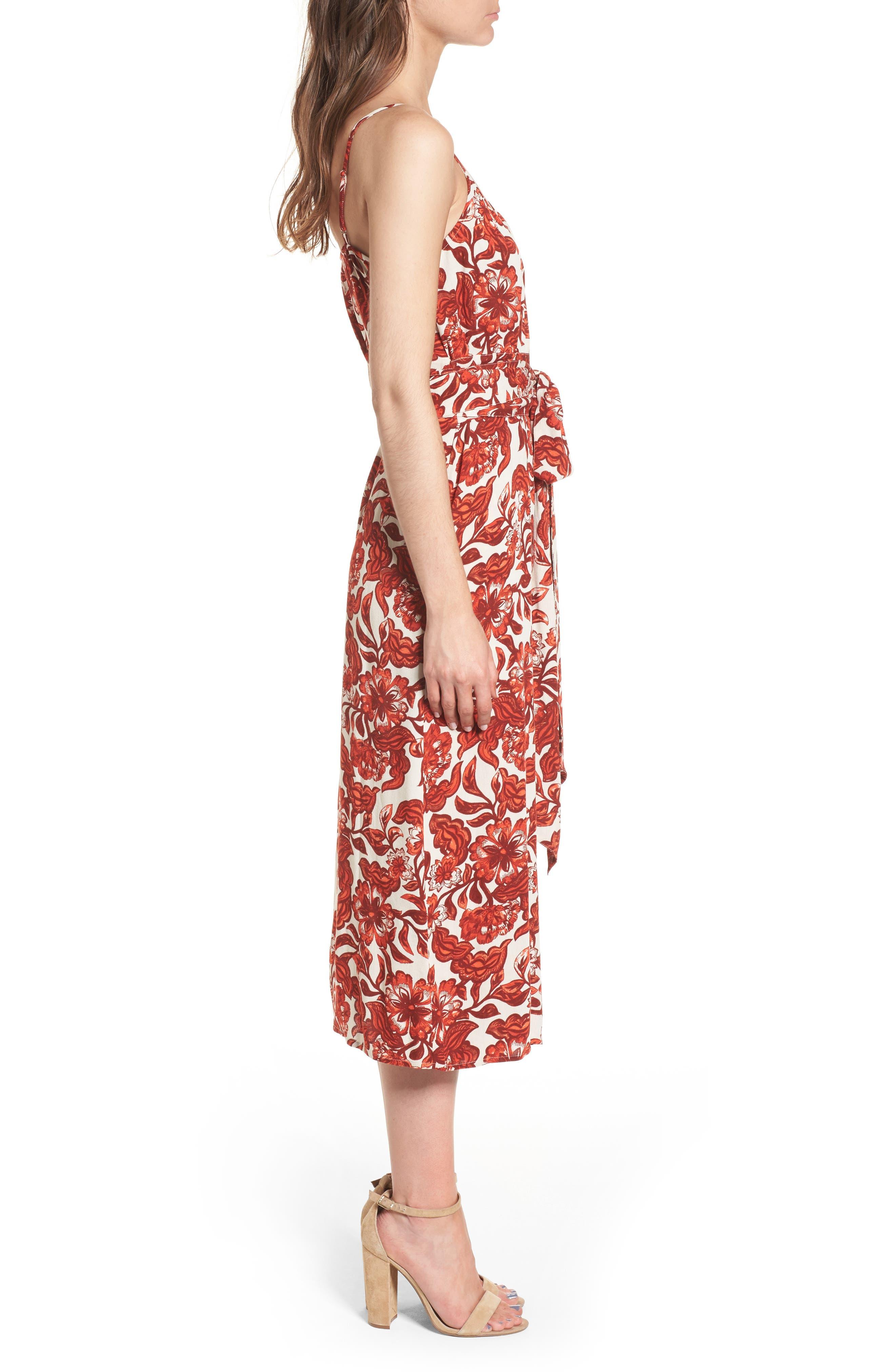 Midi Wrap Dress,                             Alternate thumbnail 3, color,                             RED LAVA SNAP FLORAL