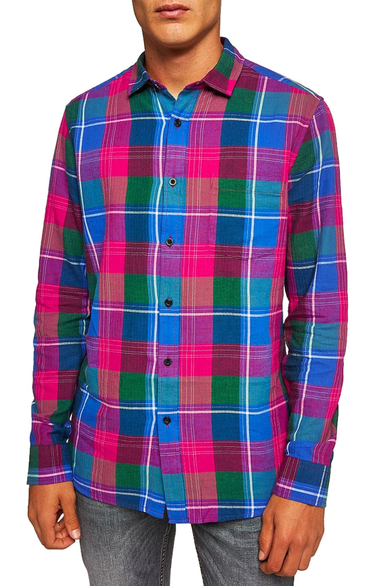 Checked Classic Fit Shirt,                             Main thumbnail 1, color,                             PINK MULTI