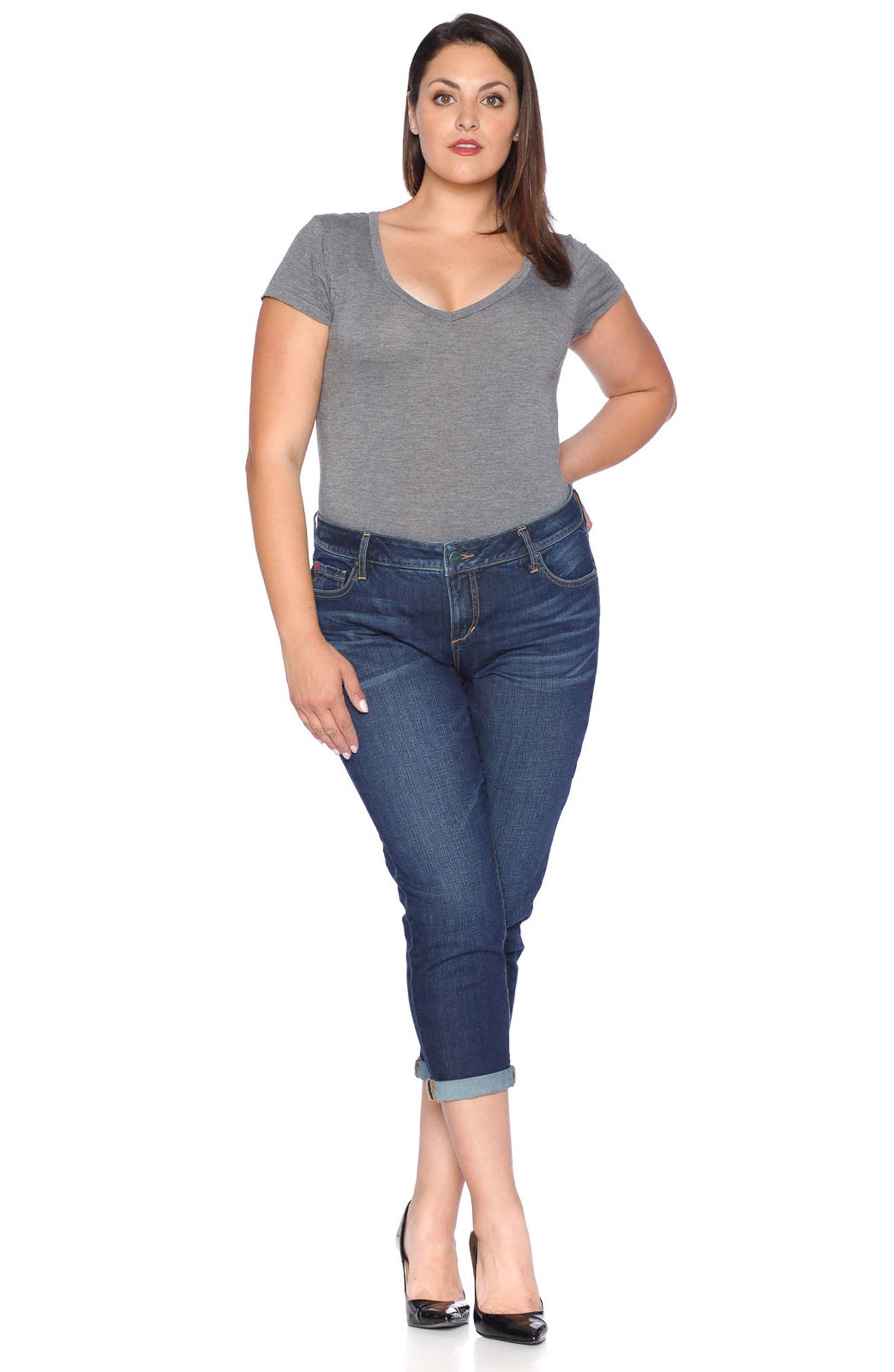 Roll Crop Boyfriend Jeans,                             Alternate thumbnail 4, color,                             435